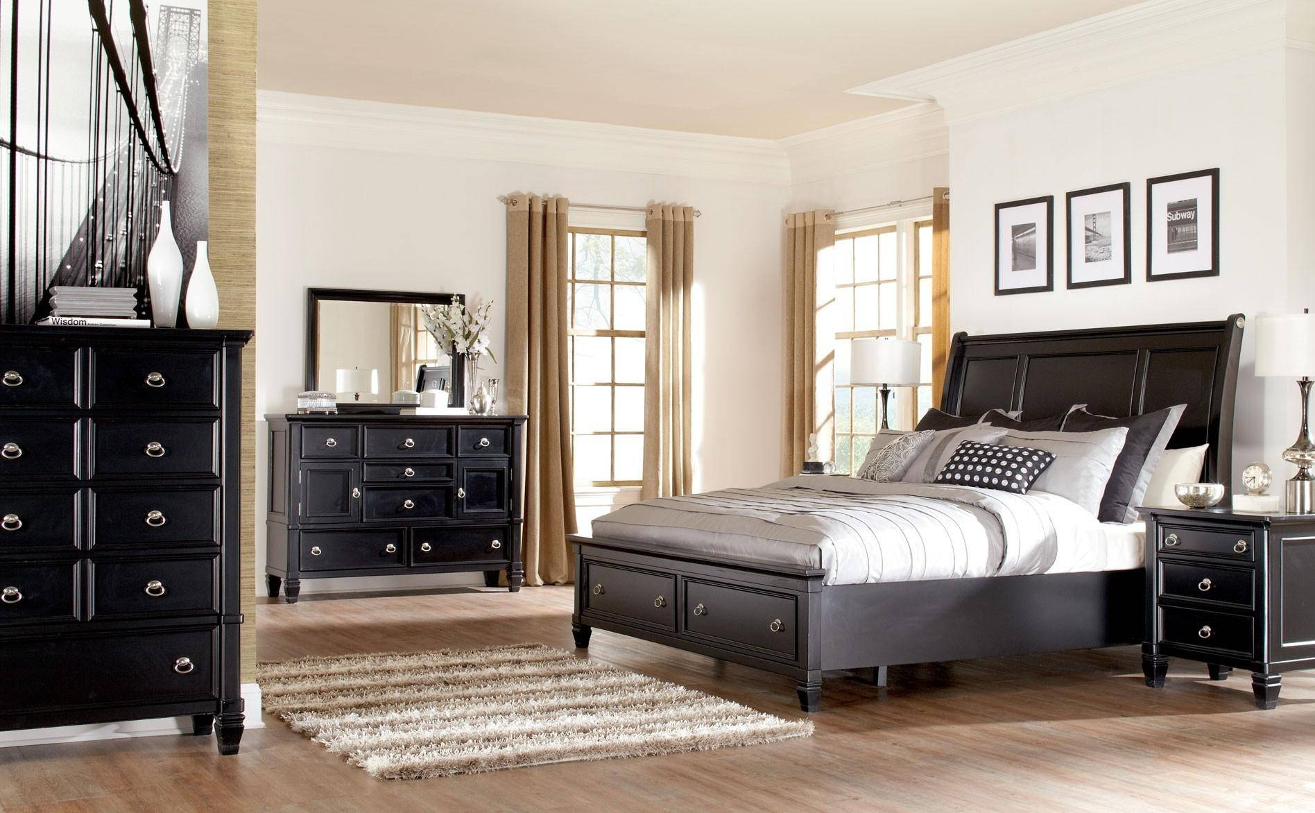 Ashley Greensburg B671 Queen Size Sleigh Bedroom Set 6pcs in Black ...