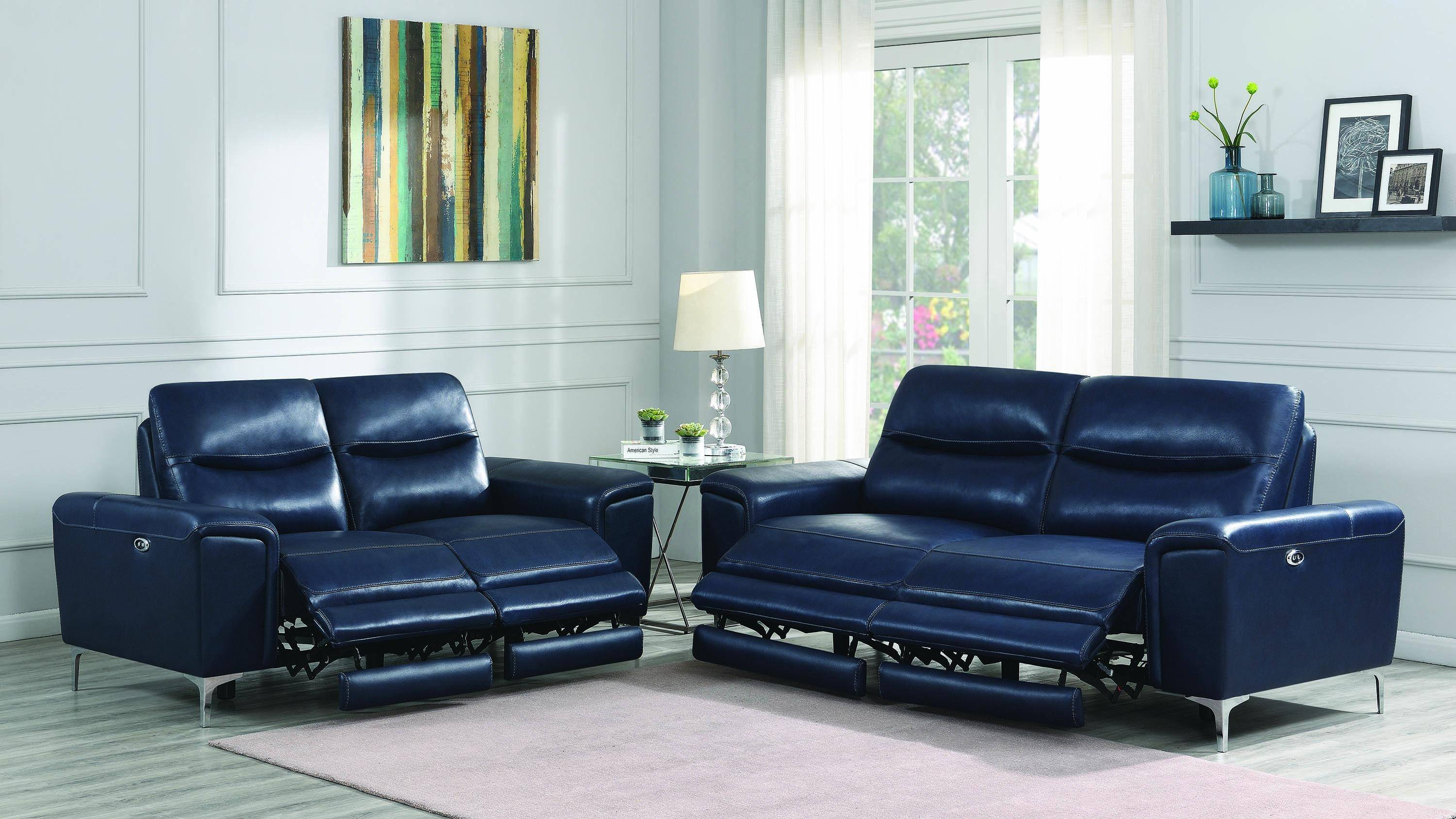 Admirable Modern Blue Leather Upholstery Power Loveseat Largo By Andrewgaddart Wooden Chair Designs For Living Room Andrewgaddartcom