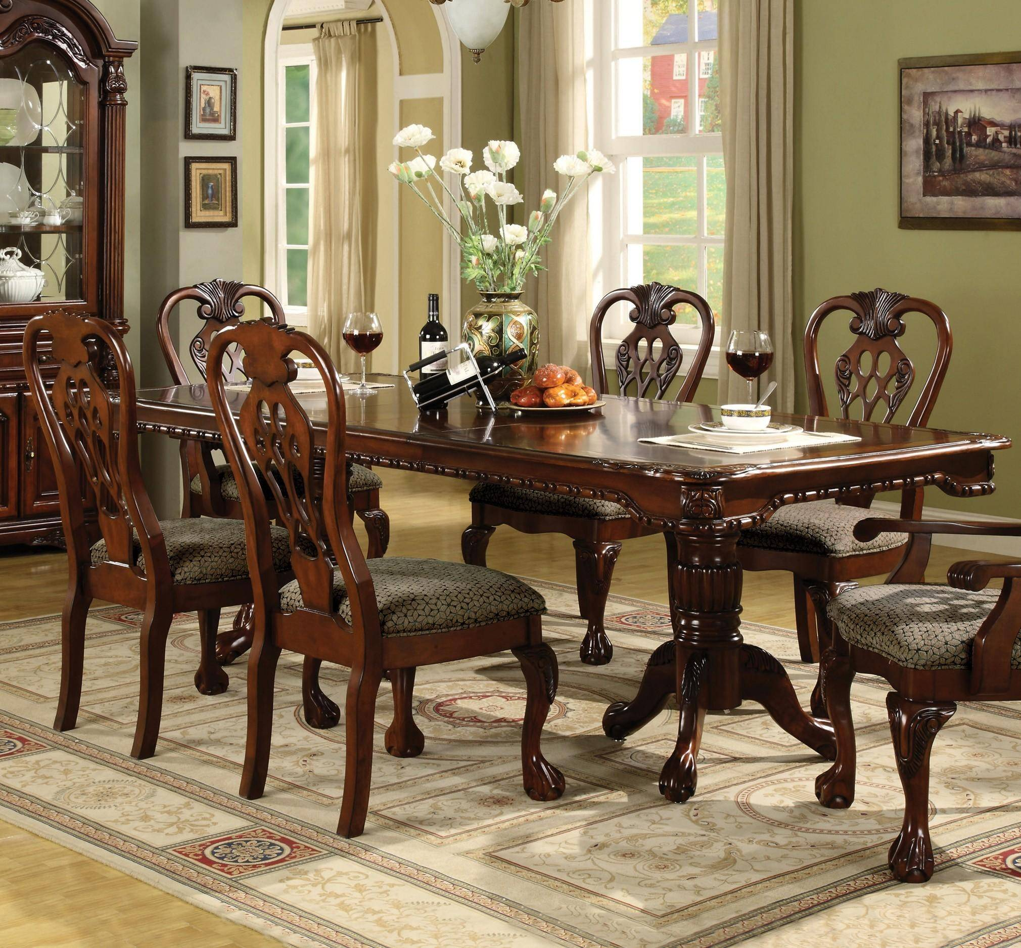 Crown Mark 7 pc Brunswick Formal Dining Room Set, Includes ...