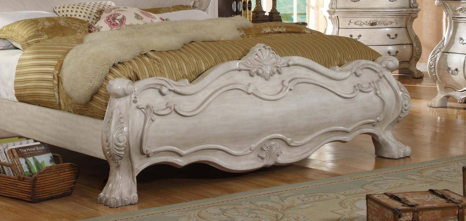 . McFerran B1603 Q Victorian Antique White Queen Sleigh Bed Carved