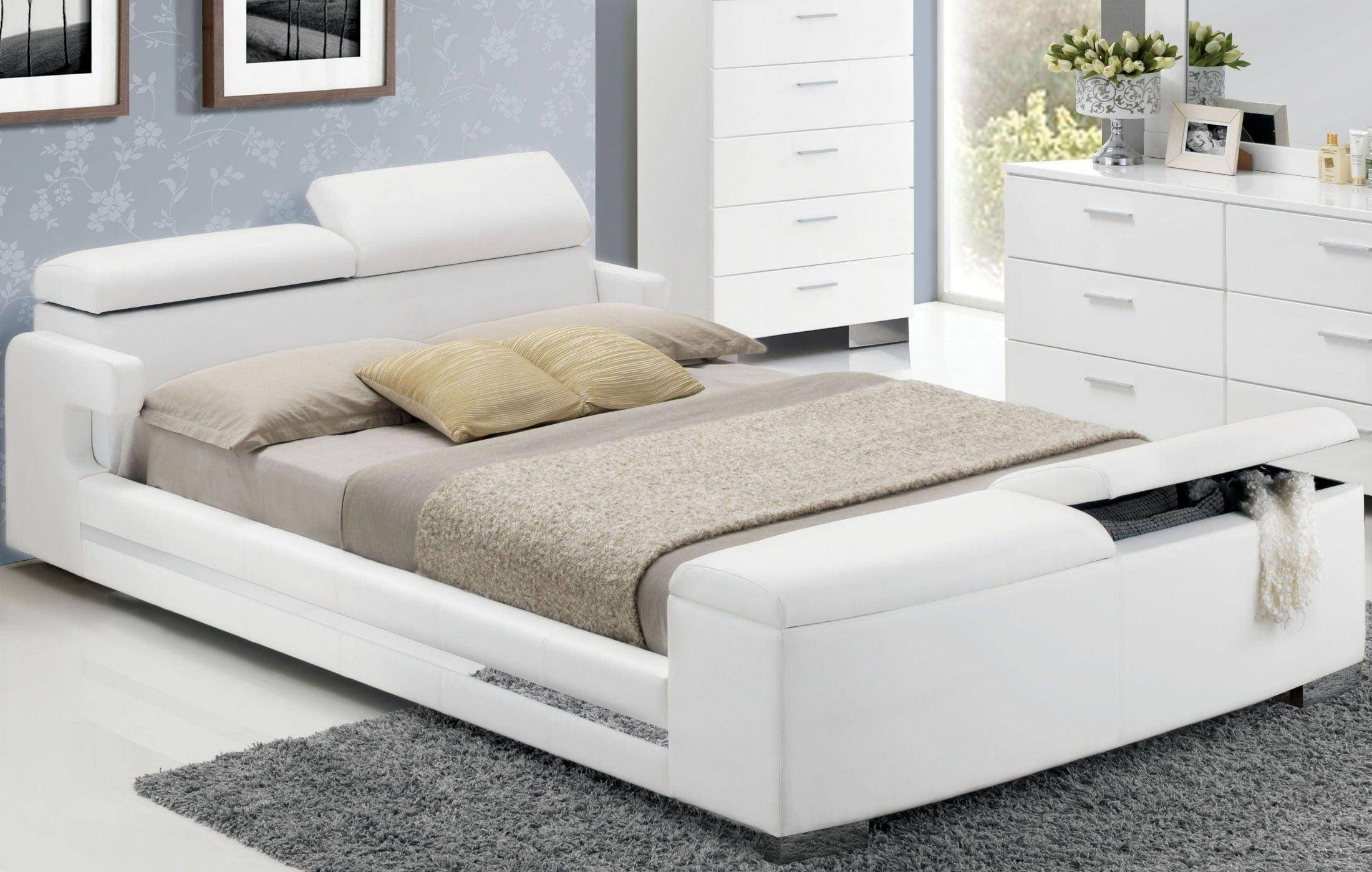 Queen Storage Bedroom Set 5p White Polyurethane 20680q Layla Acme Contemporary Layla 20680q Set 5 Buy Online