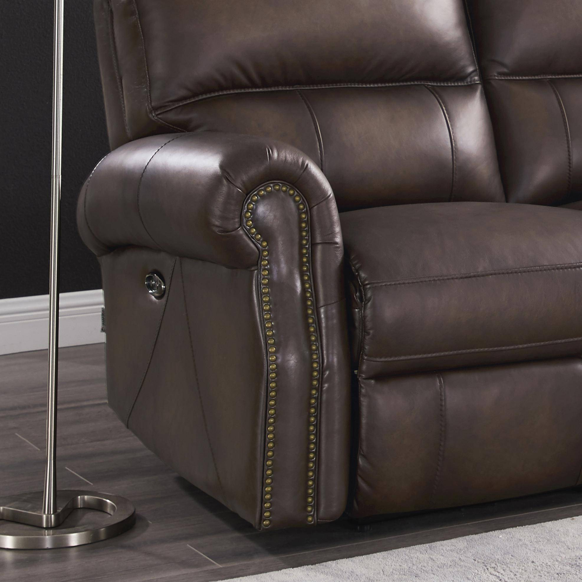 Excellent Walnut Genuine Leather Power Reclining Loveseat Raymond Ocoug Best Dining Table And Chair Ideas Images Ocougorg