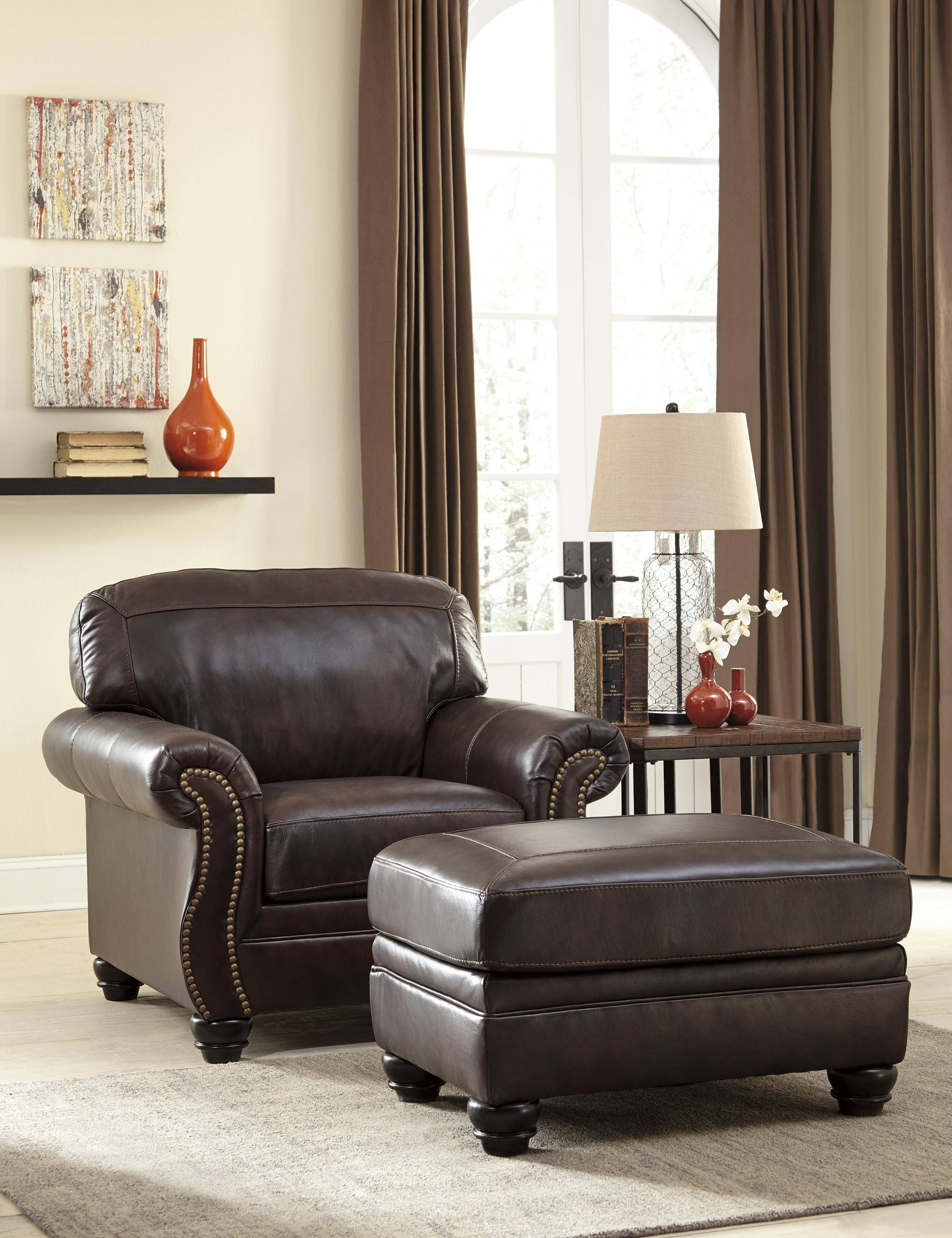 Ashley Bristan Living Room Chair With Ottoman In Walnut