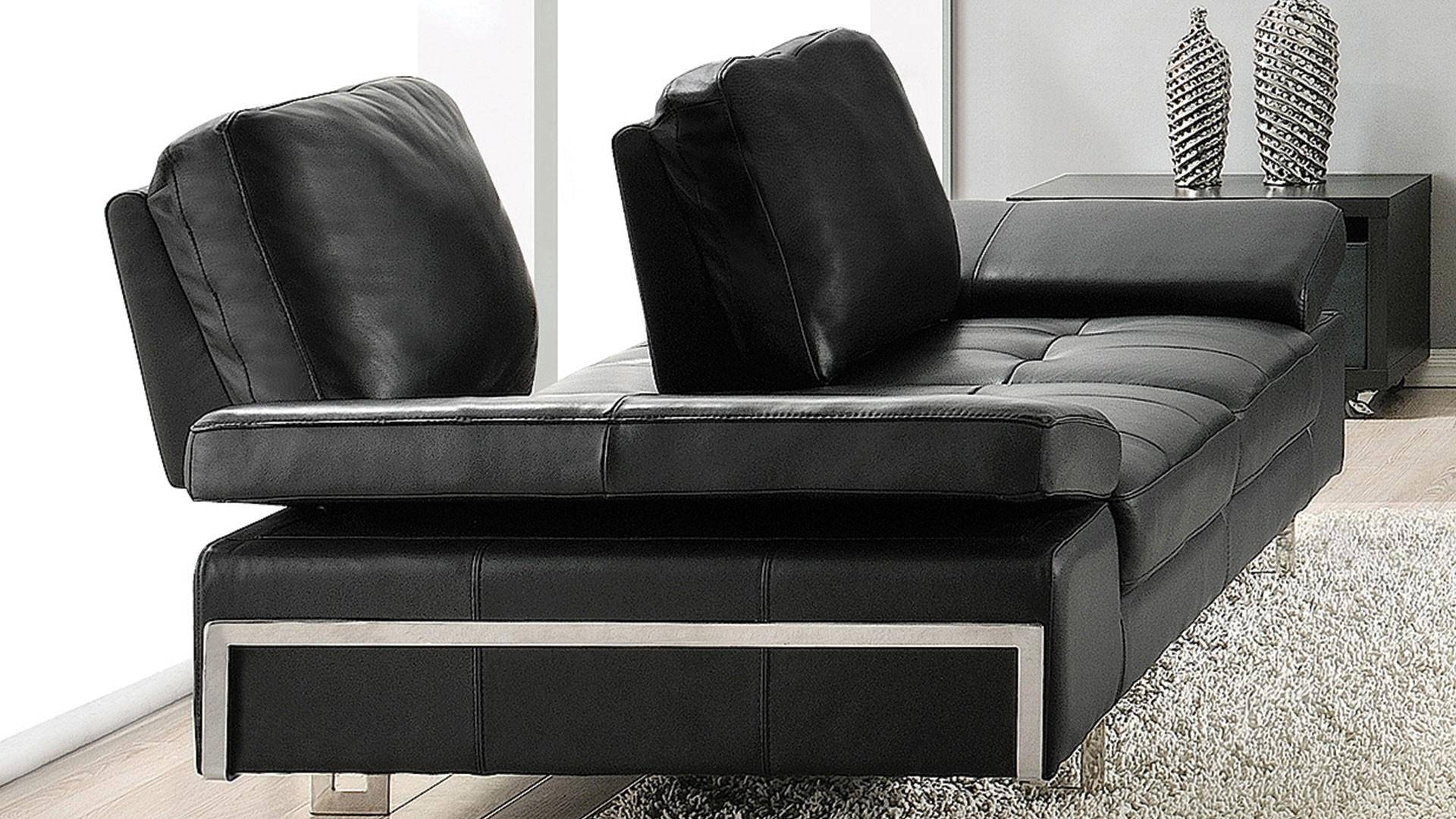 Made In Italy Leather Luxury Contemporary Furniture Set: At Home USA Gia Ebony Luxury Italian Leather Ultra Modern