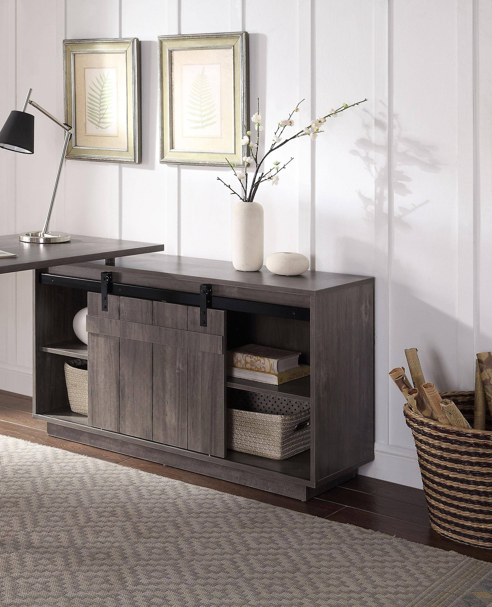 Image of: Home Office Executive Desk Gray Washed Bellarosa 92270 Acme Modern Farmhouse Bellarosa 92270