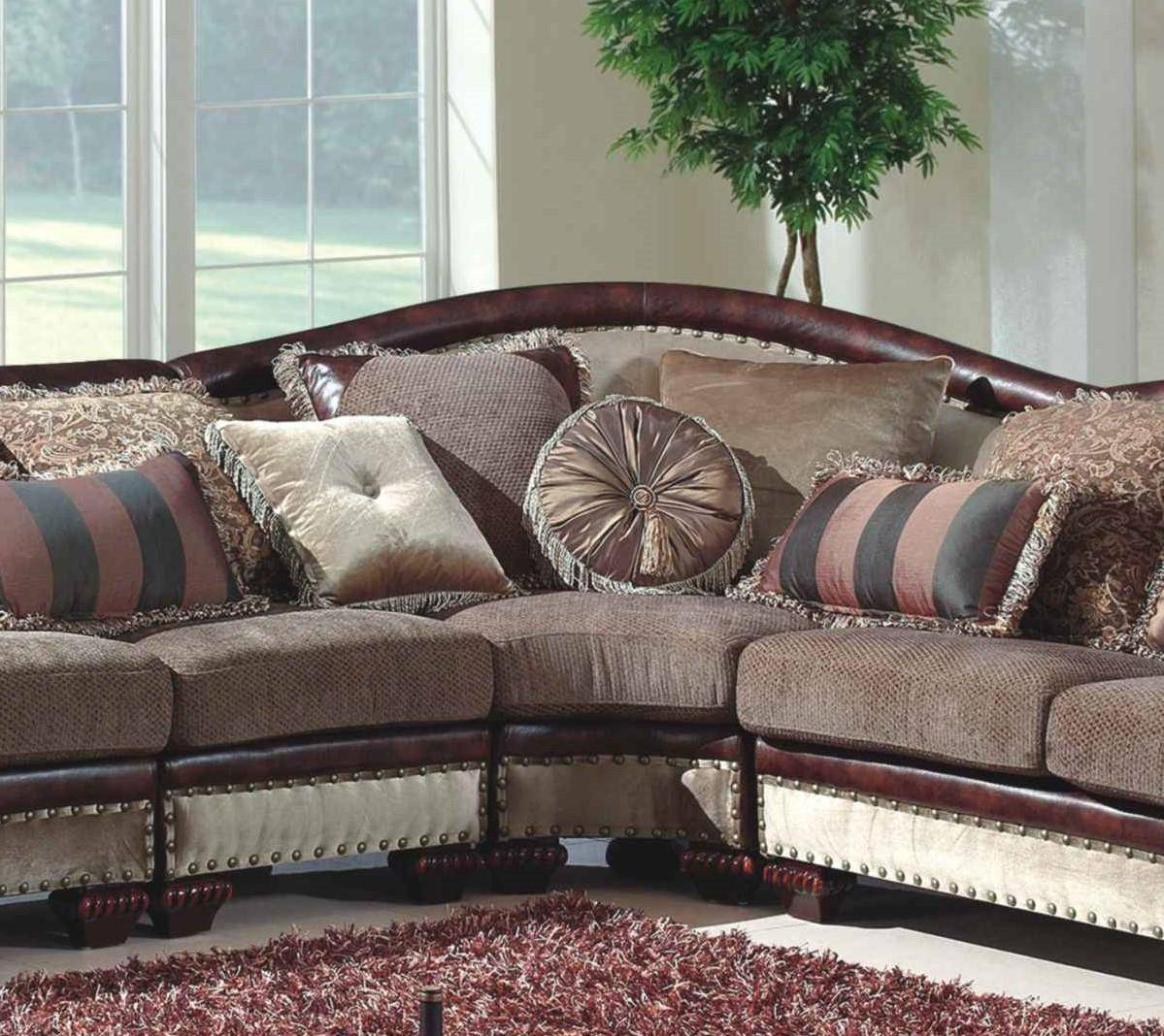 Traditional Sofas Living Room Furniture: Mcferran SF2780 Traditional Beige Brown Chenille Fabric