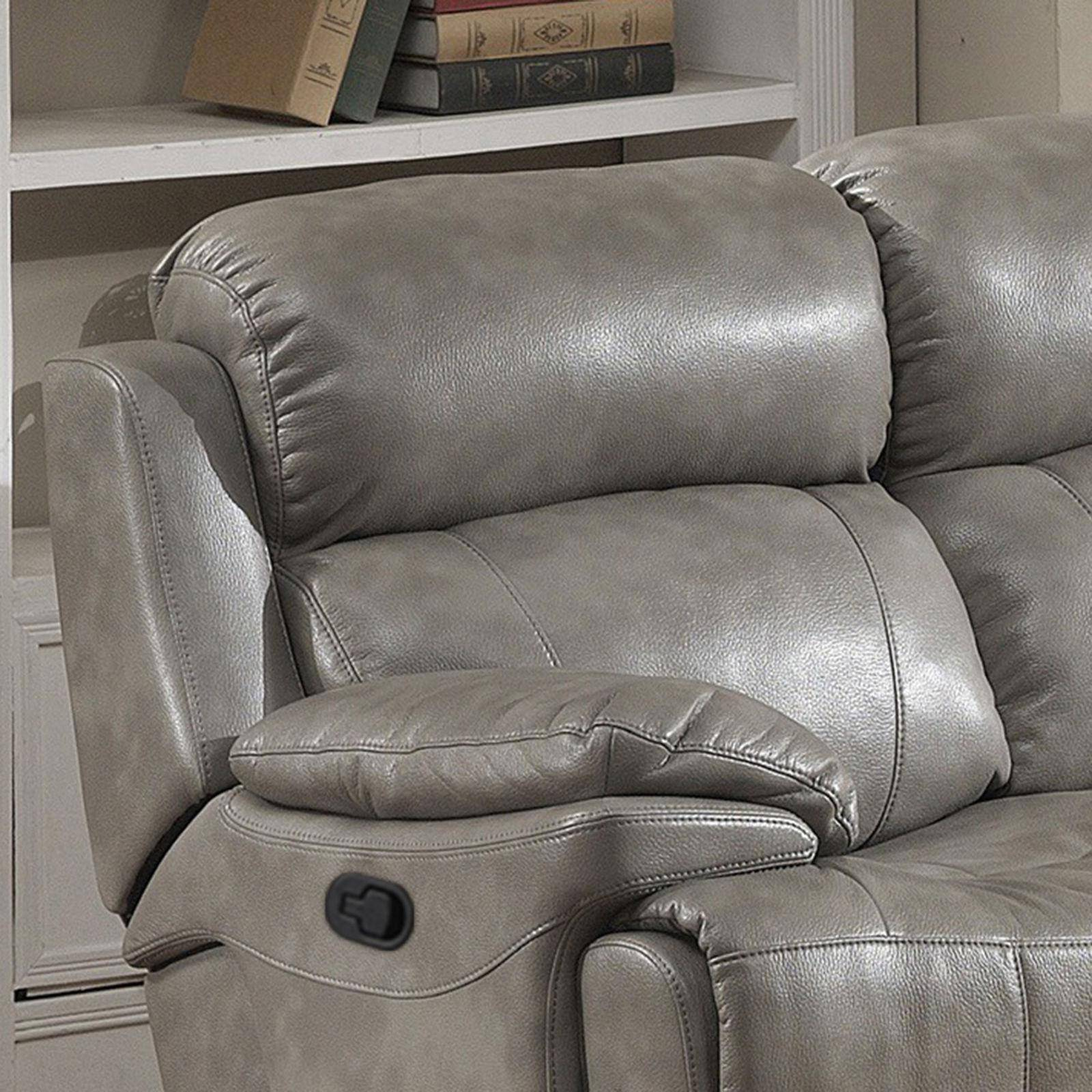 Magnificent Ac Pacific Estella Grey Leather Gel Manual Recliner Sofa Bralicious Painted Fabric Chair Ideas Braliciousco