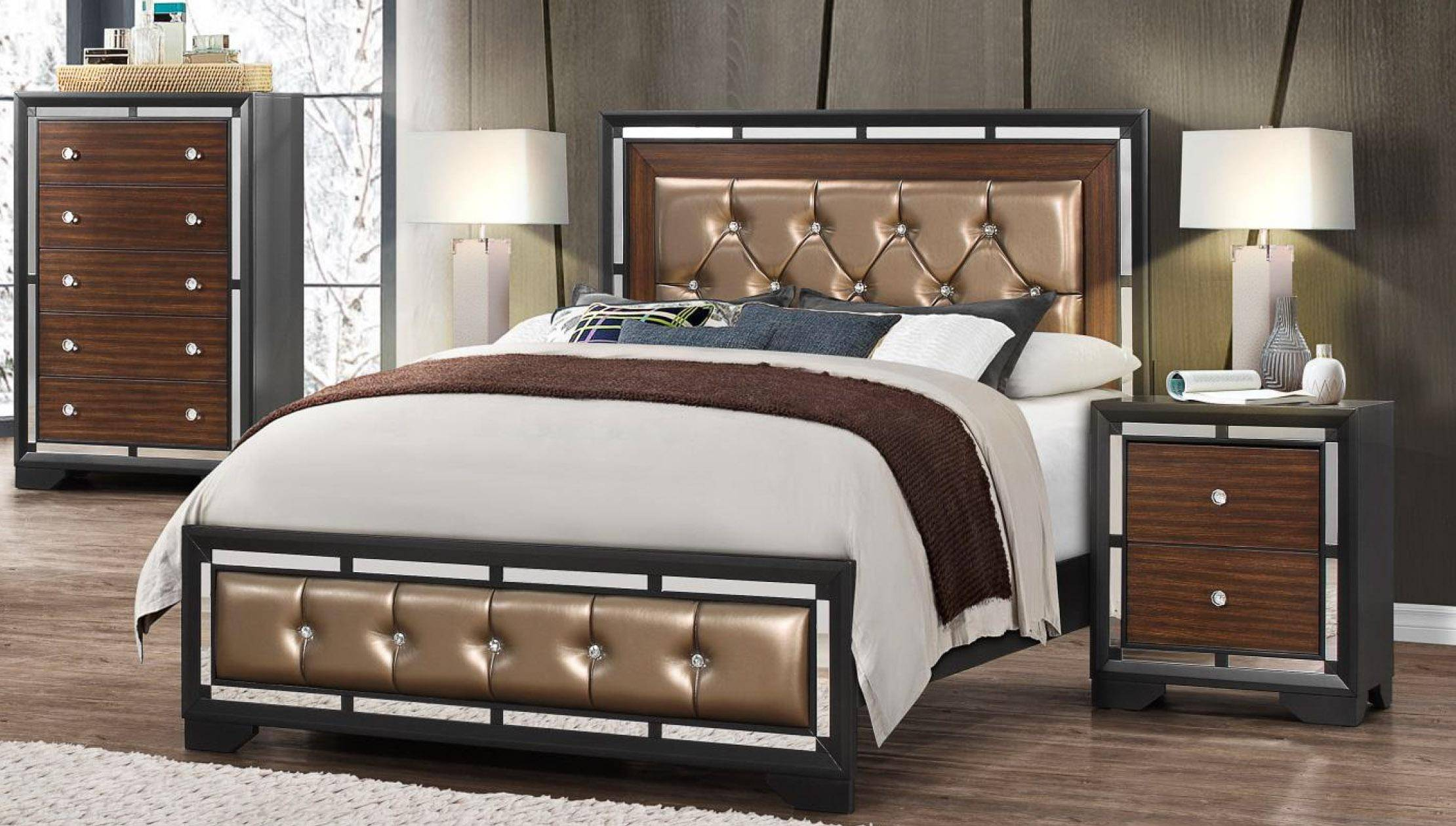 Global Furniture Camila Modern Dark Grey Finish Wood Accents Queen Bedroom Set 5 Pcs Global Camila Q Set 5