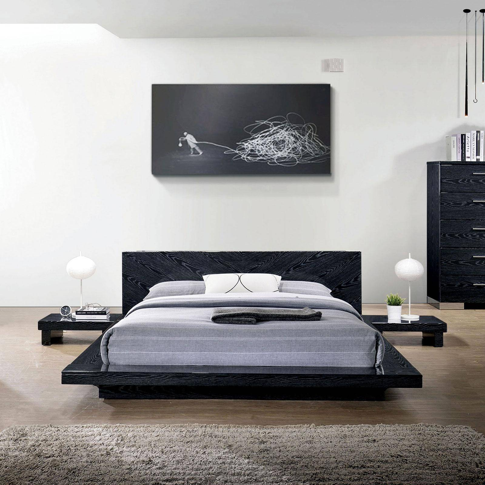 Picture of: Contemporary Wood King Platform Bed In Black Christie By Furniture Of America Cm7540bk Ek Bed