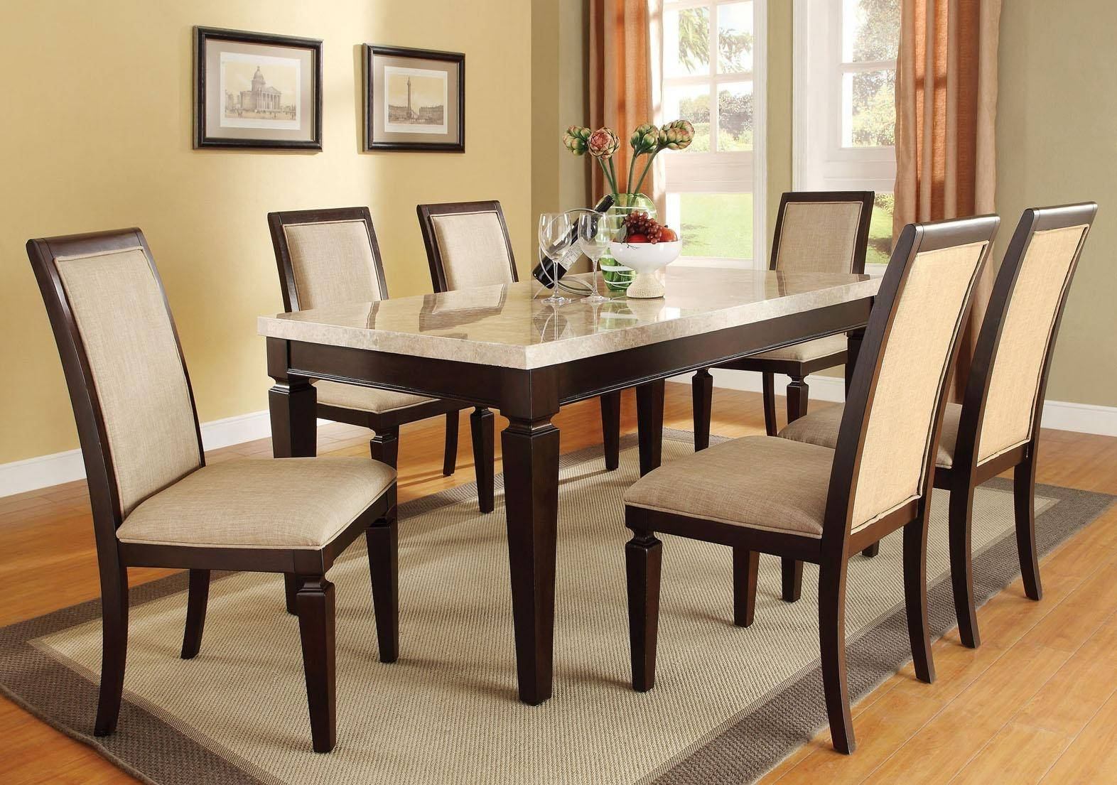 Acme 70485 Agatha White Marble Top Espresso Finished