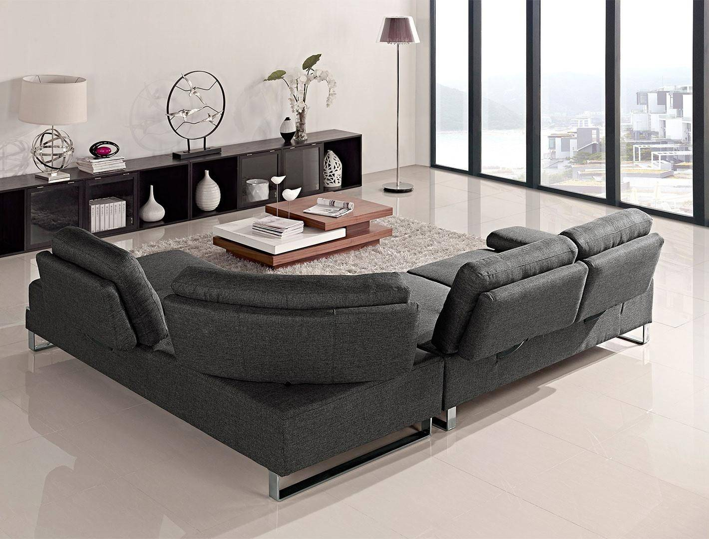 Grey Fabric Ultra Modern Sectional Sofa