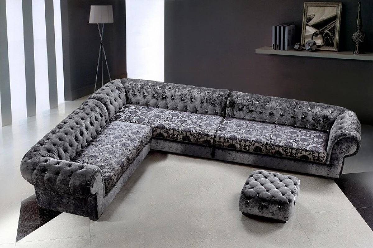 VIG Divani Casa Metropolitan Russian Gray Fabric Tufted Swarovski Crystals  Sectional Sofa with Ottoman