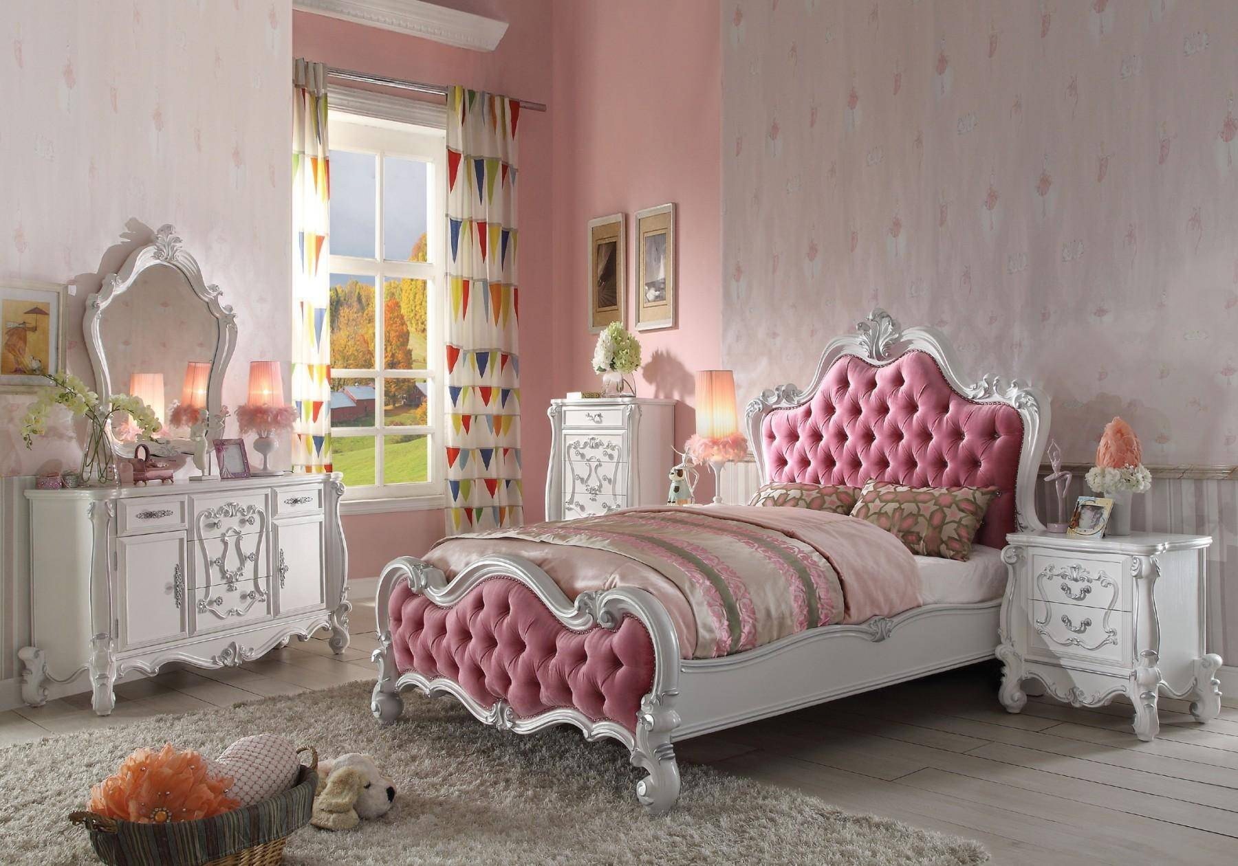 Pink and Antique White Panel Bedroom Set 5 Pcs Acme ...
