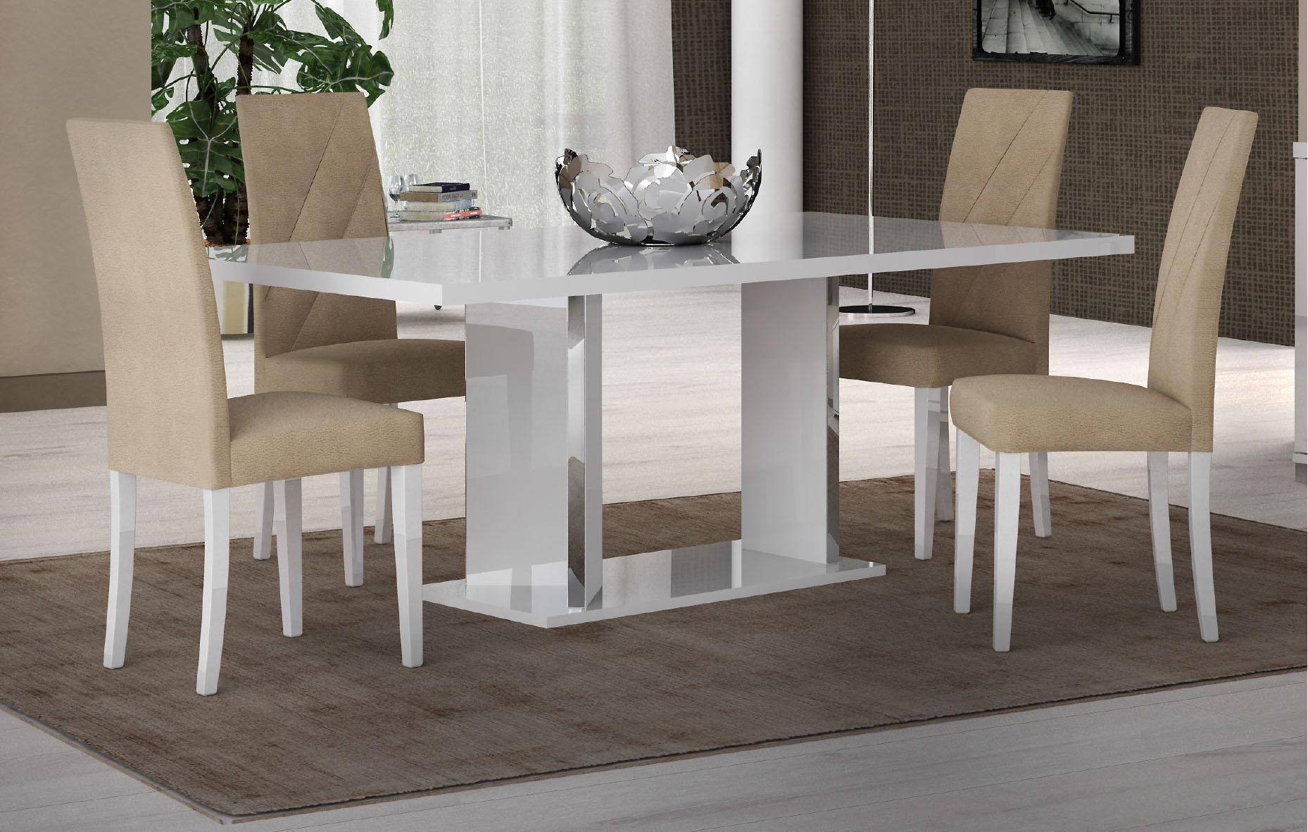 ESF Lisa Glossy White Dining Room Set 8 Pcs Made in Italy ...