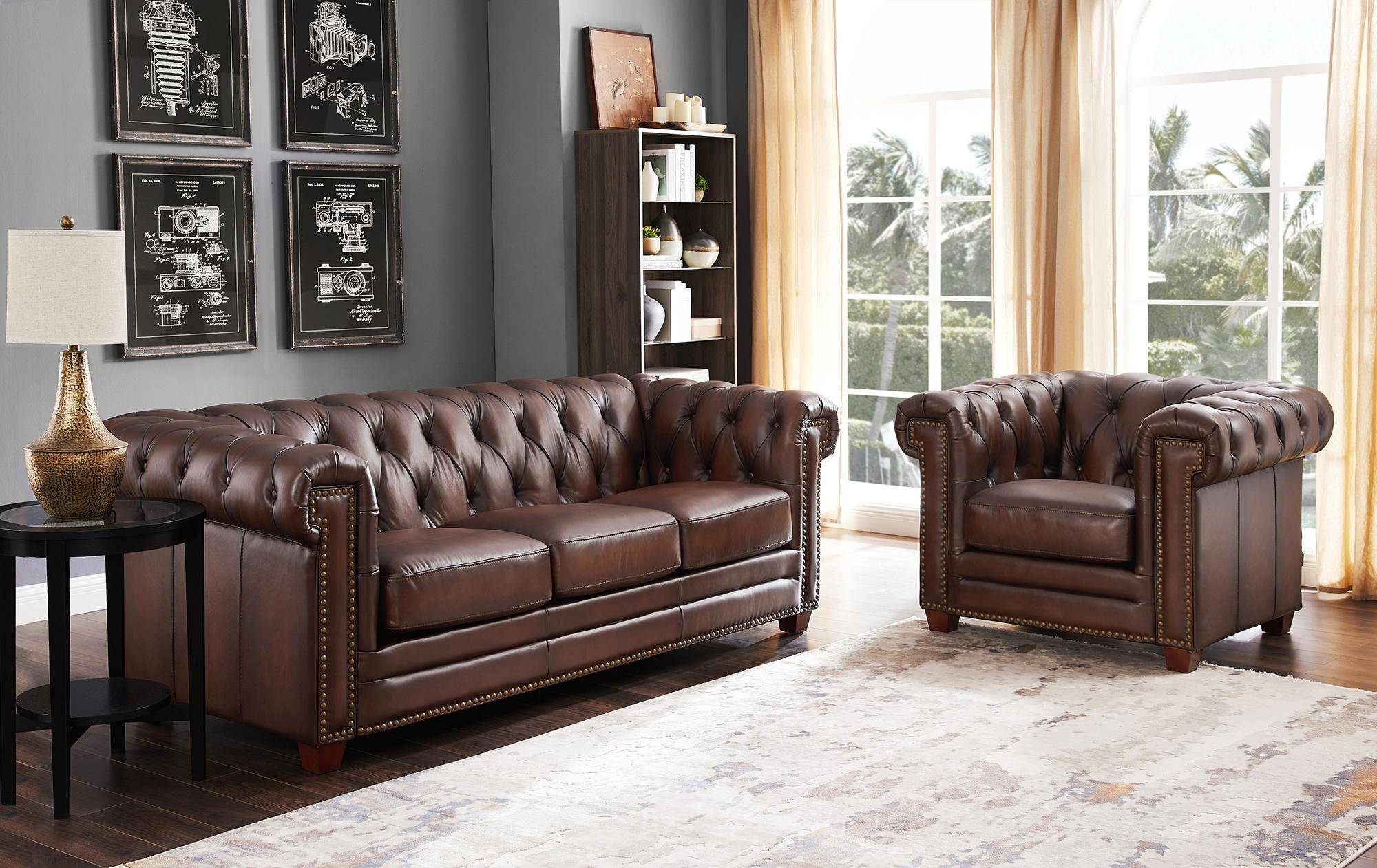 Dark Brown Stanwood Genuine Leather Sofa Set 3pcs Hydeline