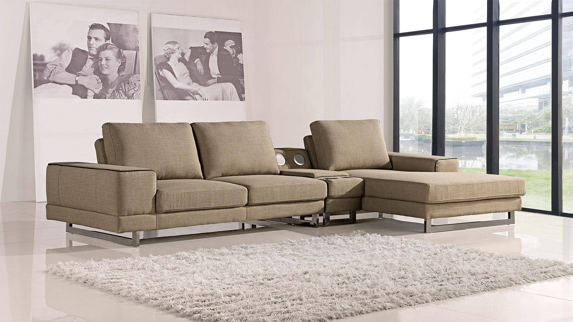 At Home USA Adele Ultra Modern Beige Fabric Sectional Sofa ...