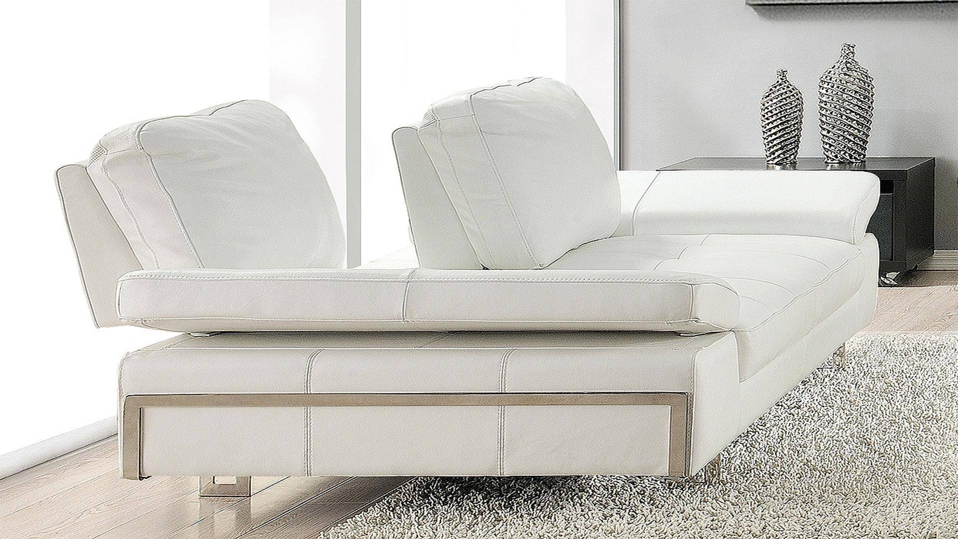 At Home Usa Skuhite603 Gia White Luxury Italian Leather Ultra Modern Sofa