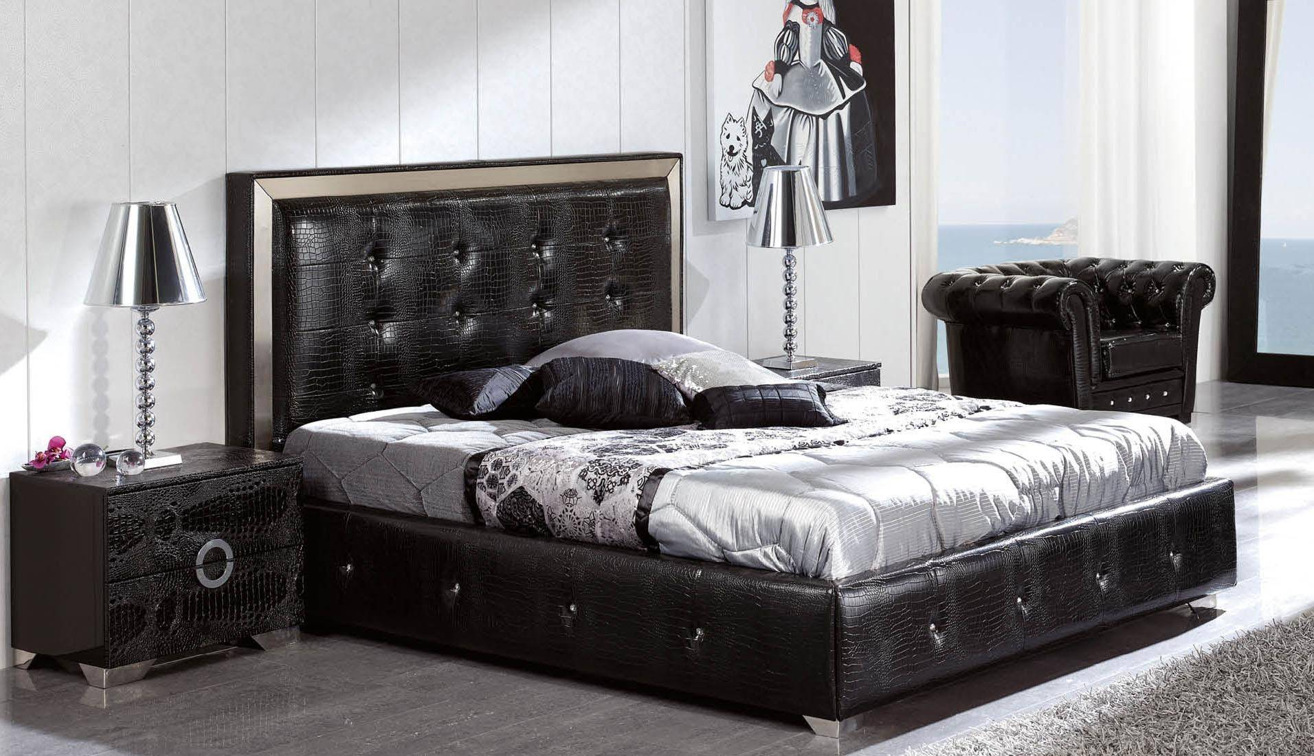 ESF Coco Contemporary Luxury Black Leather Lacquer Queen ...