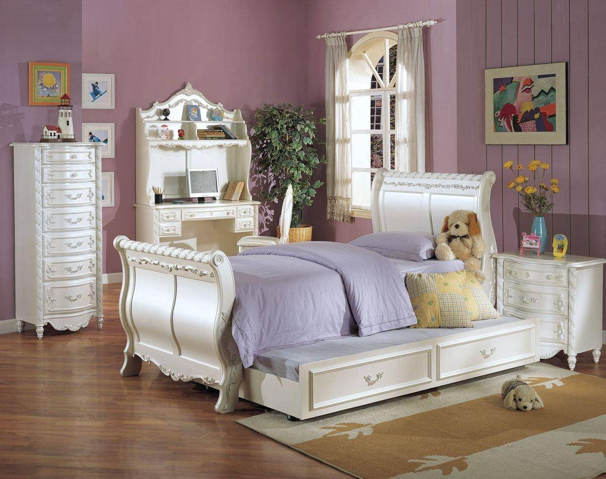 Acme Furniture 01010t Youth Pearl White Gold Accent Twin Sleigh Trundle Bed Pearl 01010t 01008 Bed