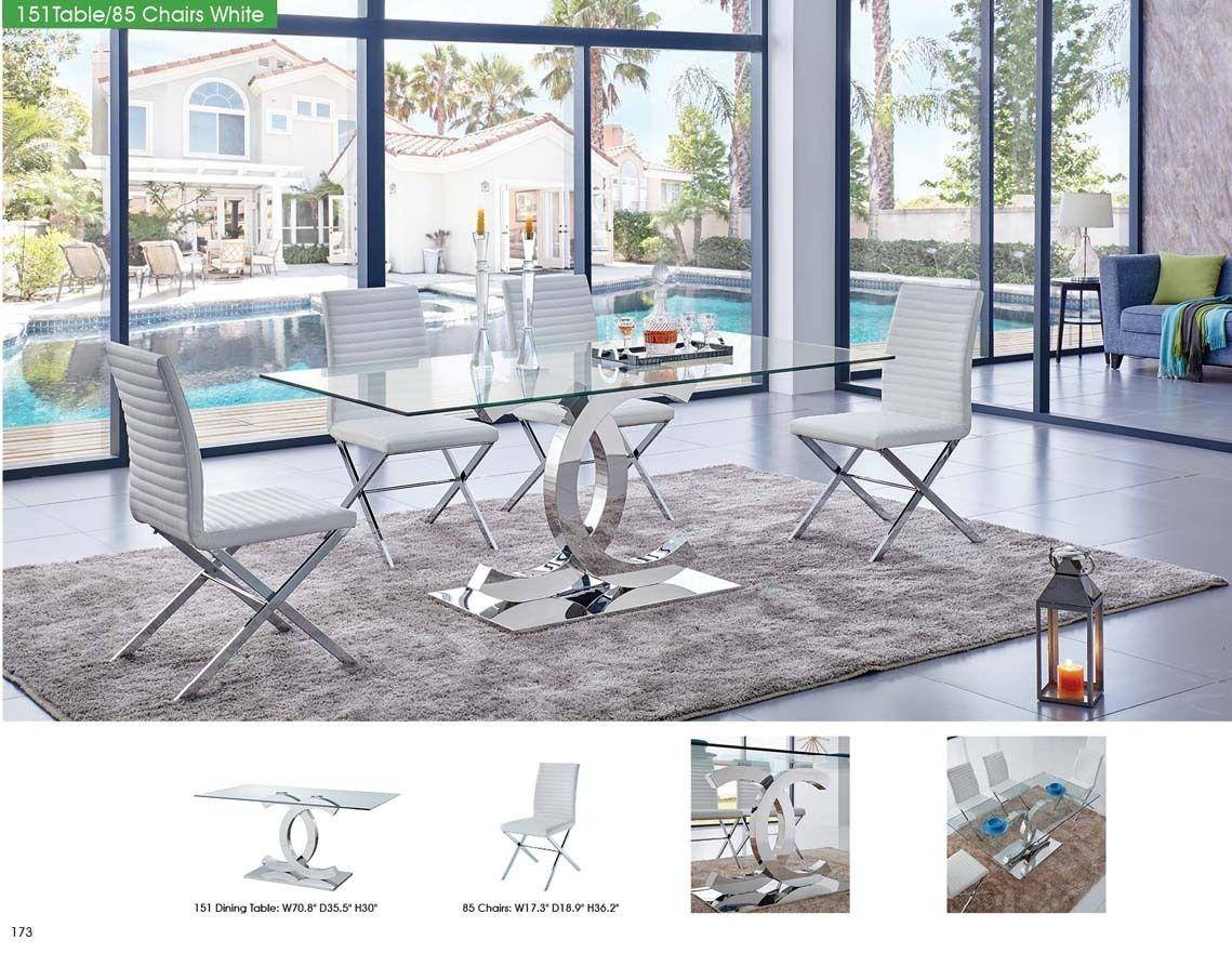 Awe Inspiring Esf 151 Modern Dining Table W Clear Glass Top 85 White Pdpeps Interior Chair Design Pdpepsorg