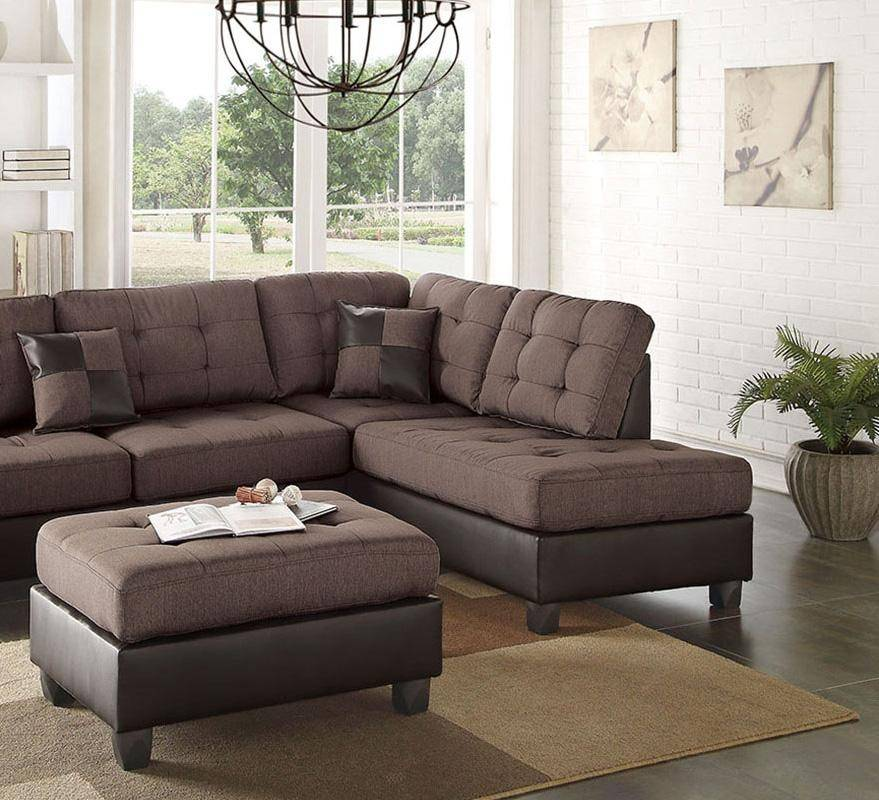 Brown Faux Leather Sectional Sofa Set 2-Pcs F6857 Poundex Modern ...