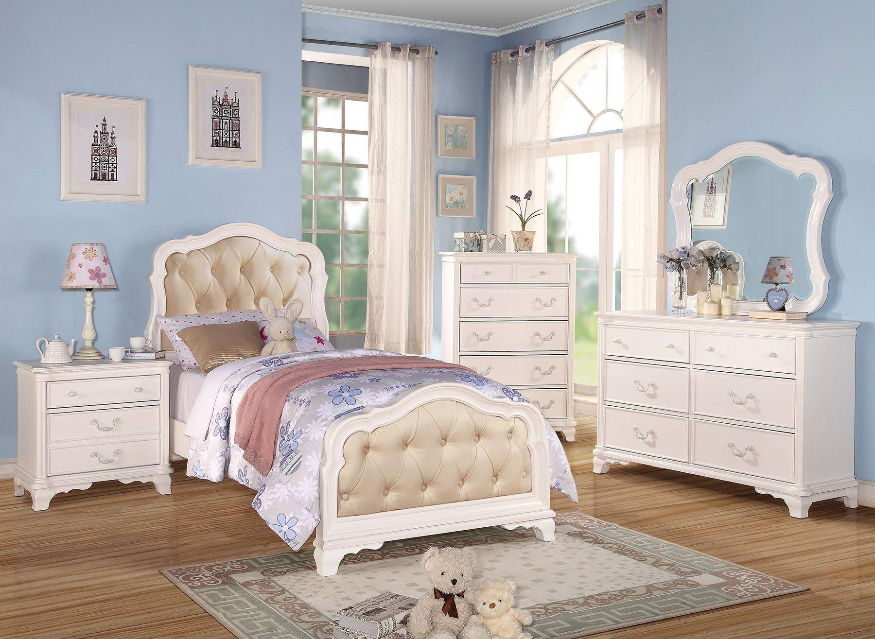 acme furniture 30145t ira kids white twin upholstered bedroom set 4pcs classic (ira 30145t-set-4