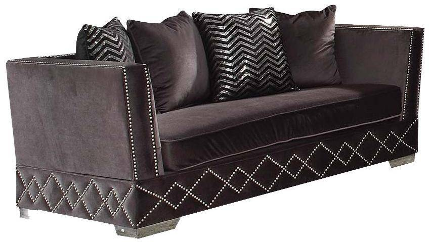 Magnificent Charcoal Velvet Upholstery Loveseat Modern Acme Furniture 54261 Tamara Bralicious Painted Fabric Chair Ideas Braliciousco