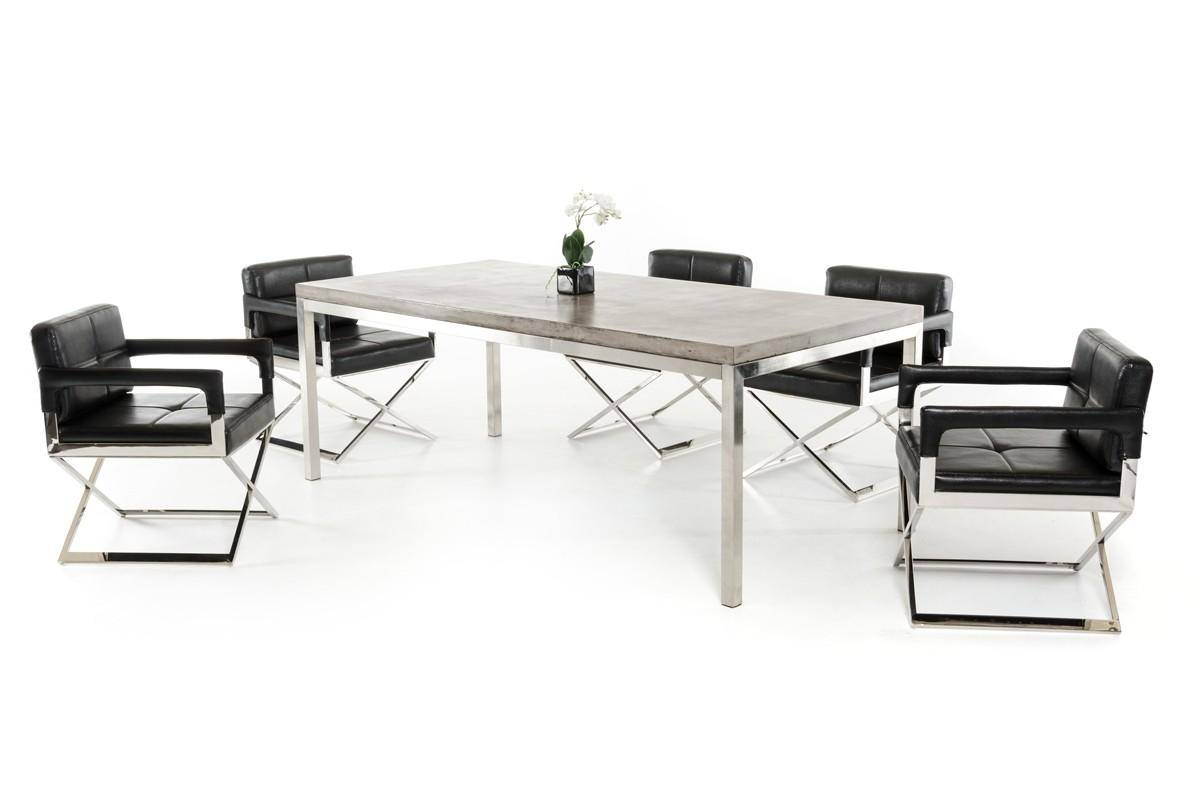 Concrete Dark Grey Dining Table Vig Modrest Retna Modern Contemporary Vggr720710