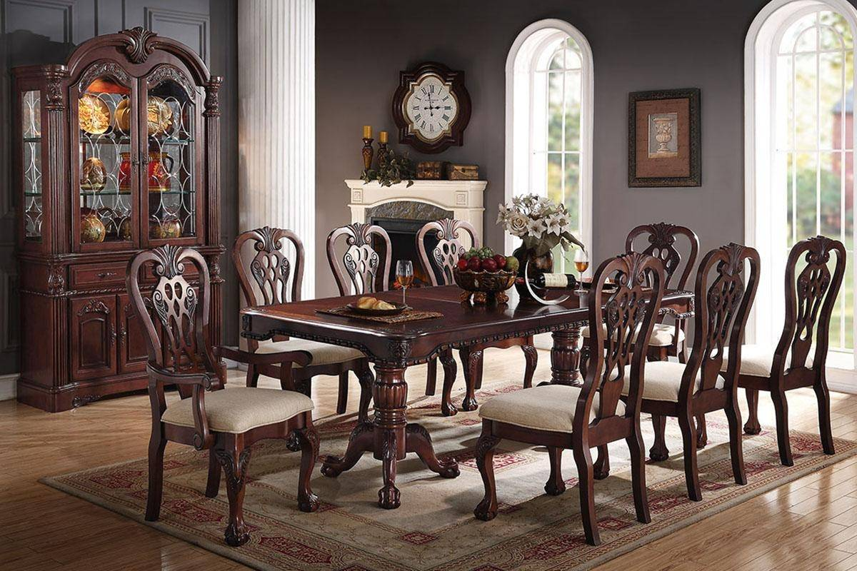 Cherry Finish Wood Dining Table F2198 Poundex Traditional F2198