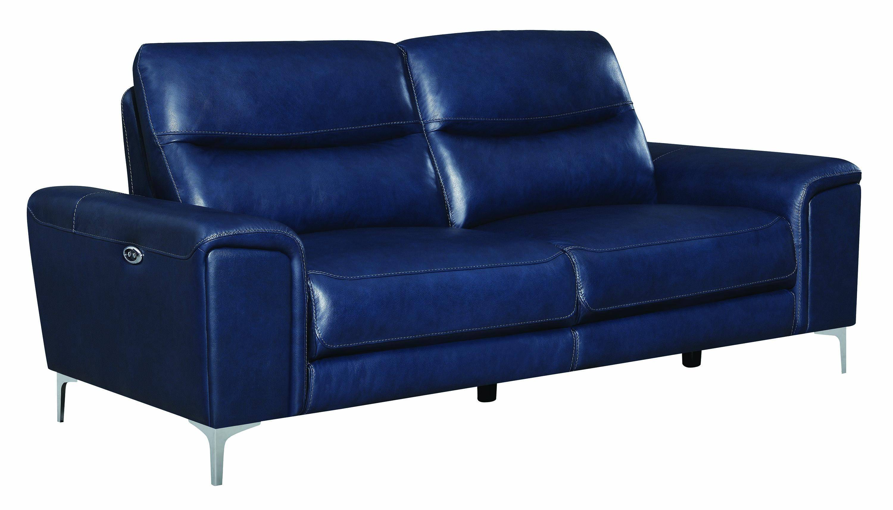 Modern Blue Leather Upholstery Sofa Largo By Coaster