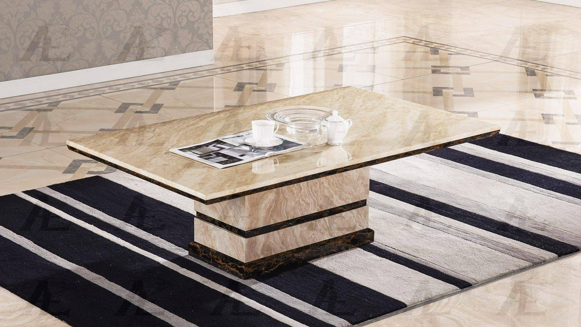 American Eagle Furniture CT-H28 Beige Marble Top Coffe