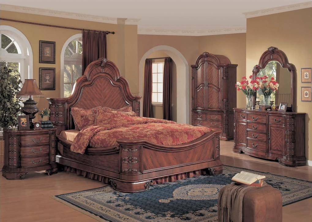 Hannah Traditional King Mansion Bed Cherry 5 Piece Luxury Bedroom Set W Armoire Ha6101k Set 5