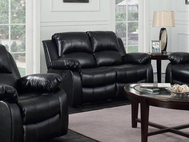 Happy Homes Astros Modern Brown Blended Leather Recliner Sofa Set 3Pcs
