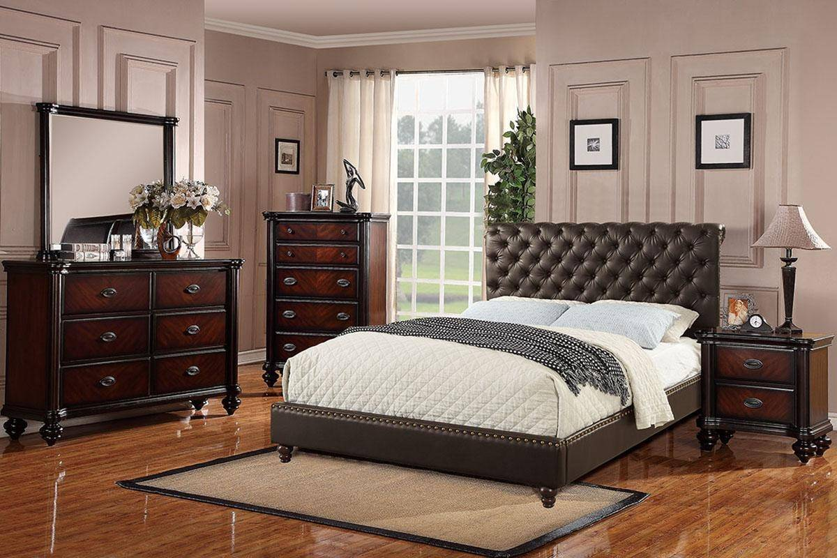Modern Brown Faux Leather Upholstered Eastern King Bed ...