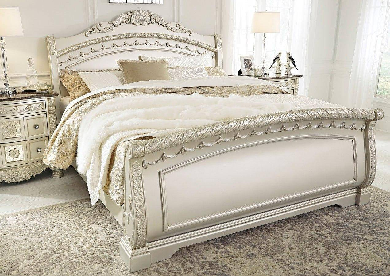 Ashley Cassimore B750 King Size Sleigh Bedroom Set 3pcs In Pearl Silver B750 178 176 179 93 2 Set 3