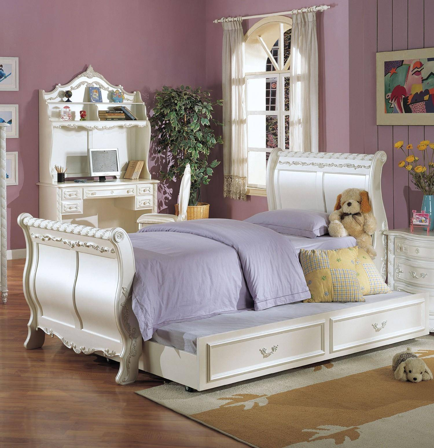 Acme Furniture 01010t Youth Pearl White Gold Accent Twin Sleigh Trundle Bedroom Set 6pcs Pearl 01010t Set 6