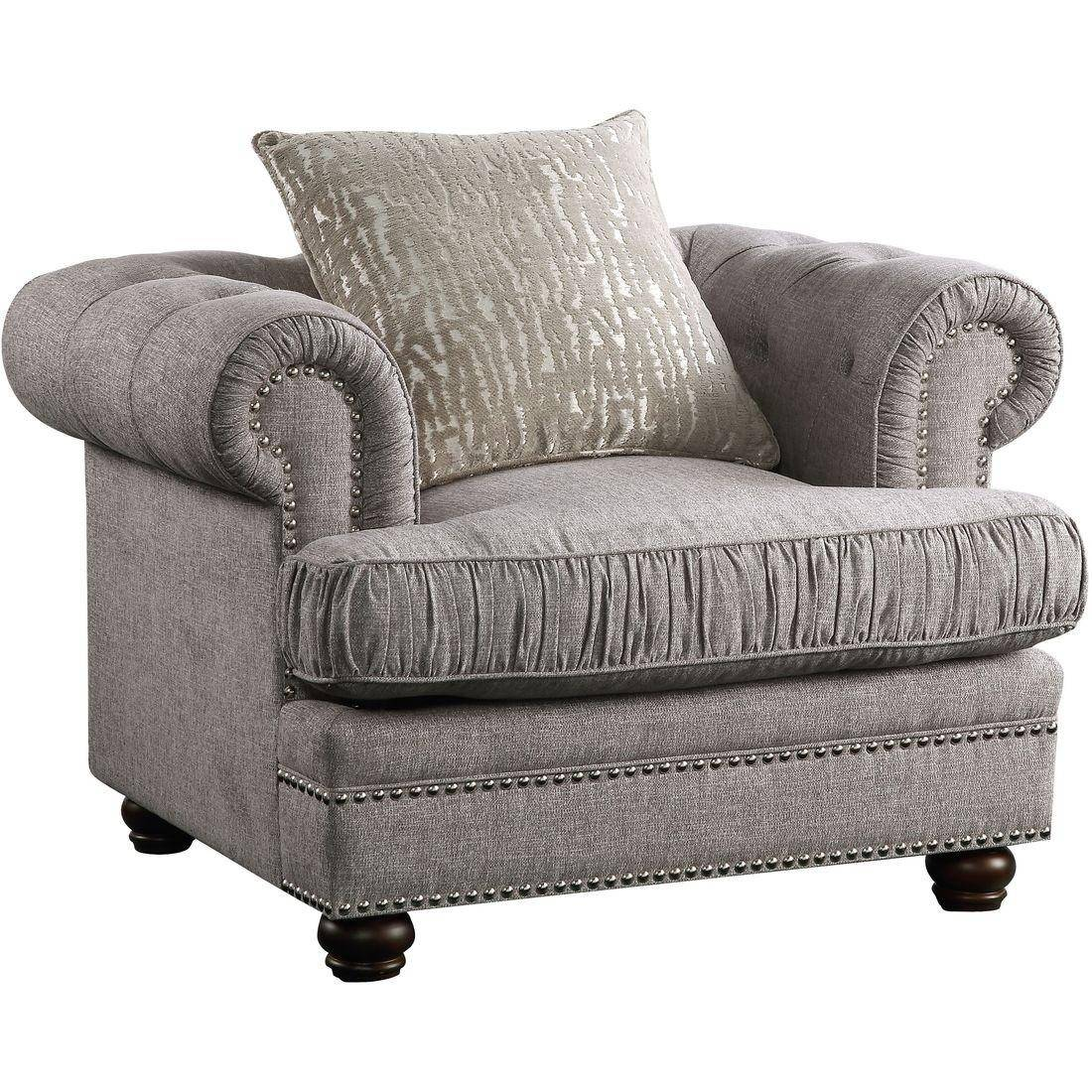 Gray Fabric Tufted Chair W Pillow Gardenia 53097 Acme