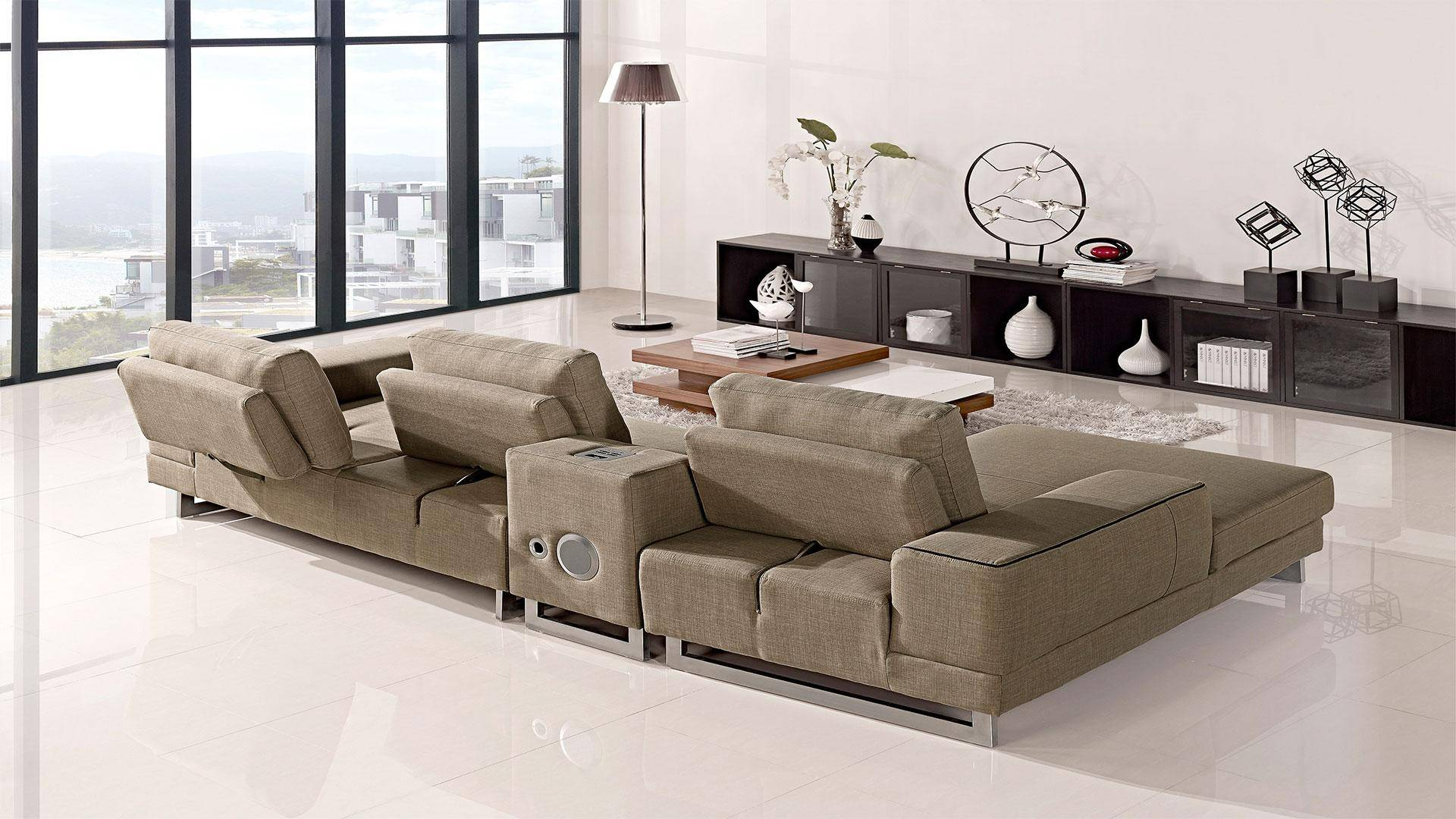 Stupendous At Home Usa Adele Ultra Modern Beige Fabric Sectional Sofa Ncnpc Chair Design For Home Ncnpcorg