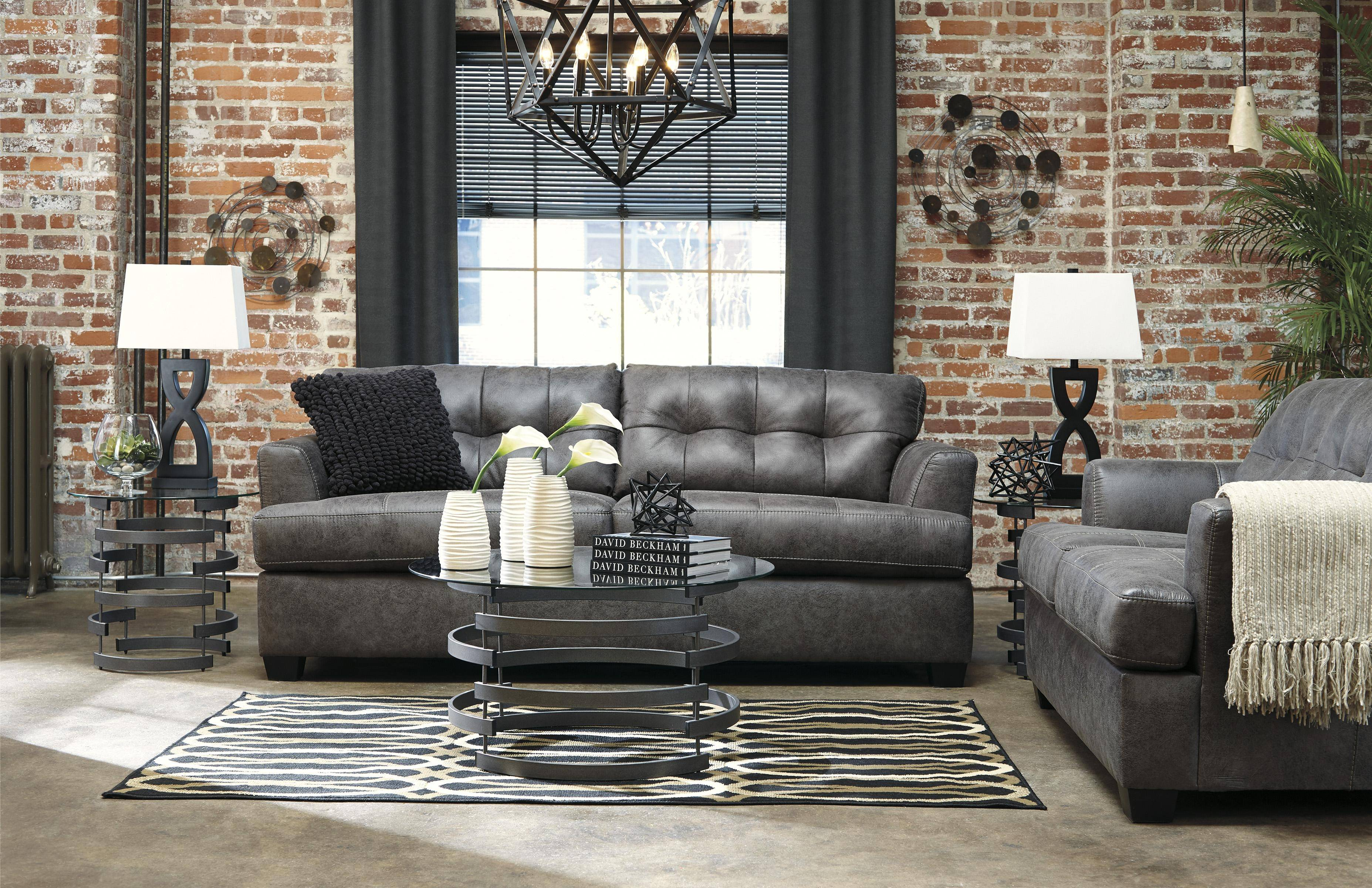 Ashley Inmon 2 Piece Living Room Set in Charcoal (65807-38 ...