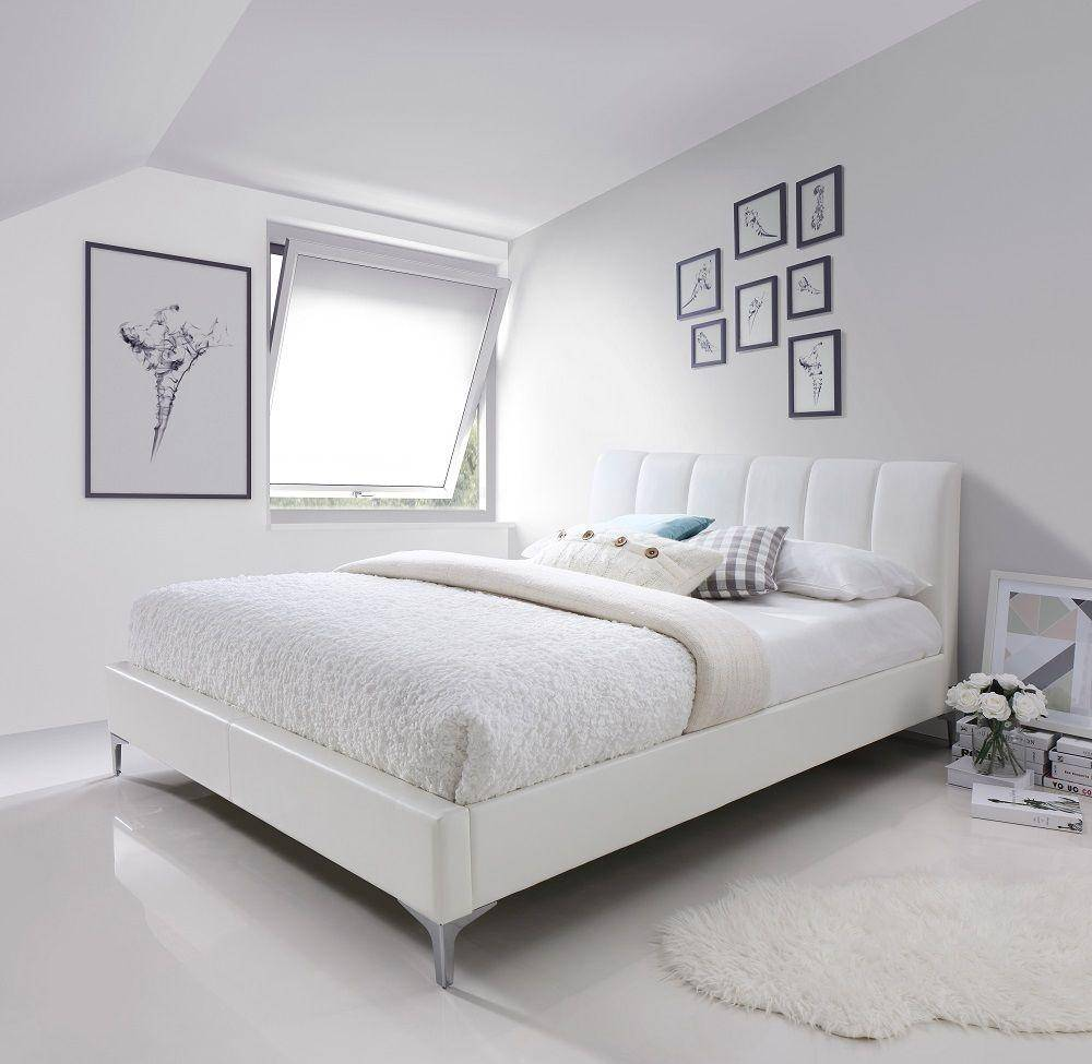 J&M Leona Contemporary White Eco Pelle Upholstered Queen Size ...