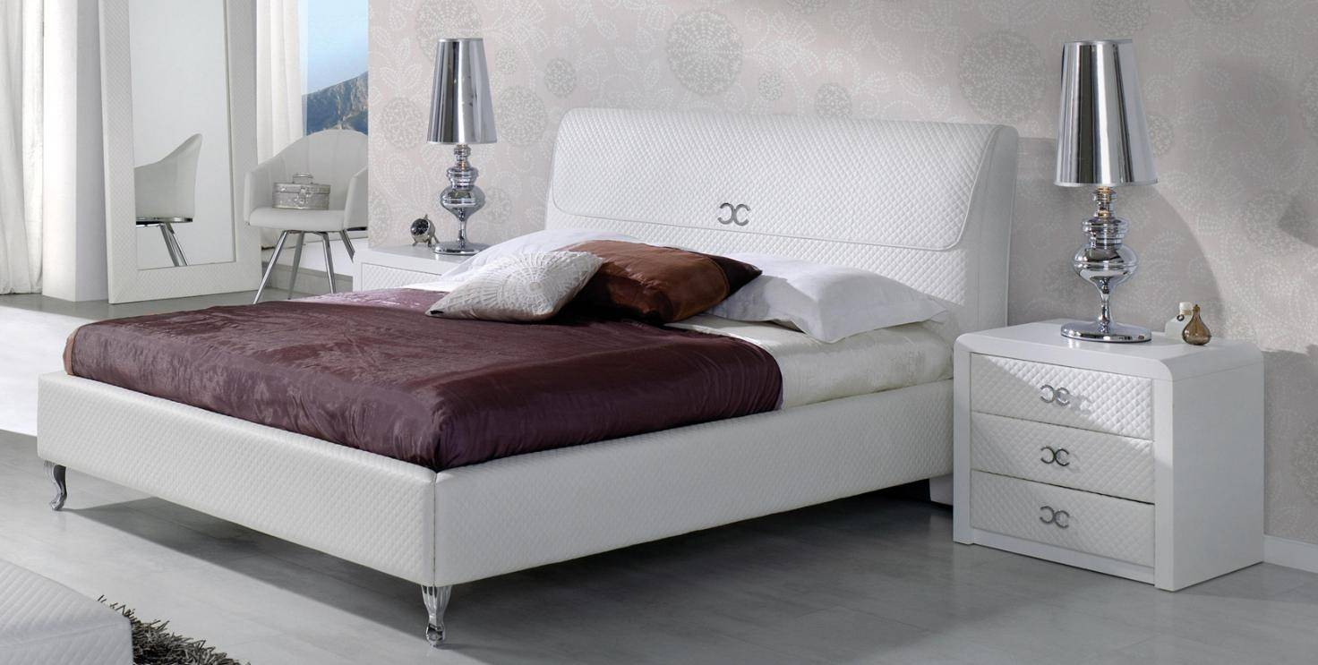 Emilie Bedroom Collection: ESF Emily 887 Pure White Eco Leather Eastern King Bedroom