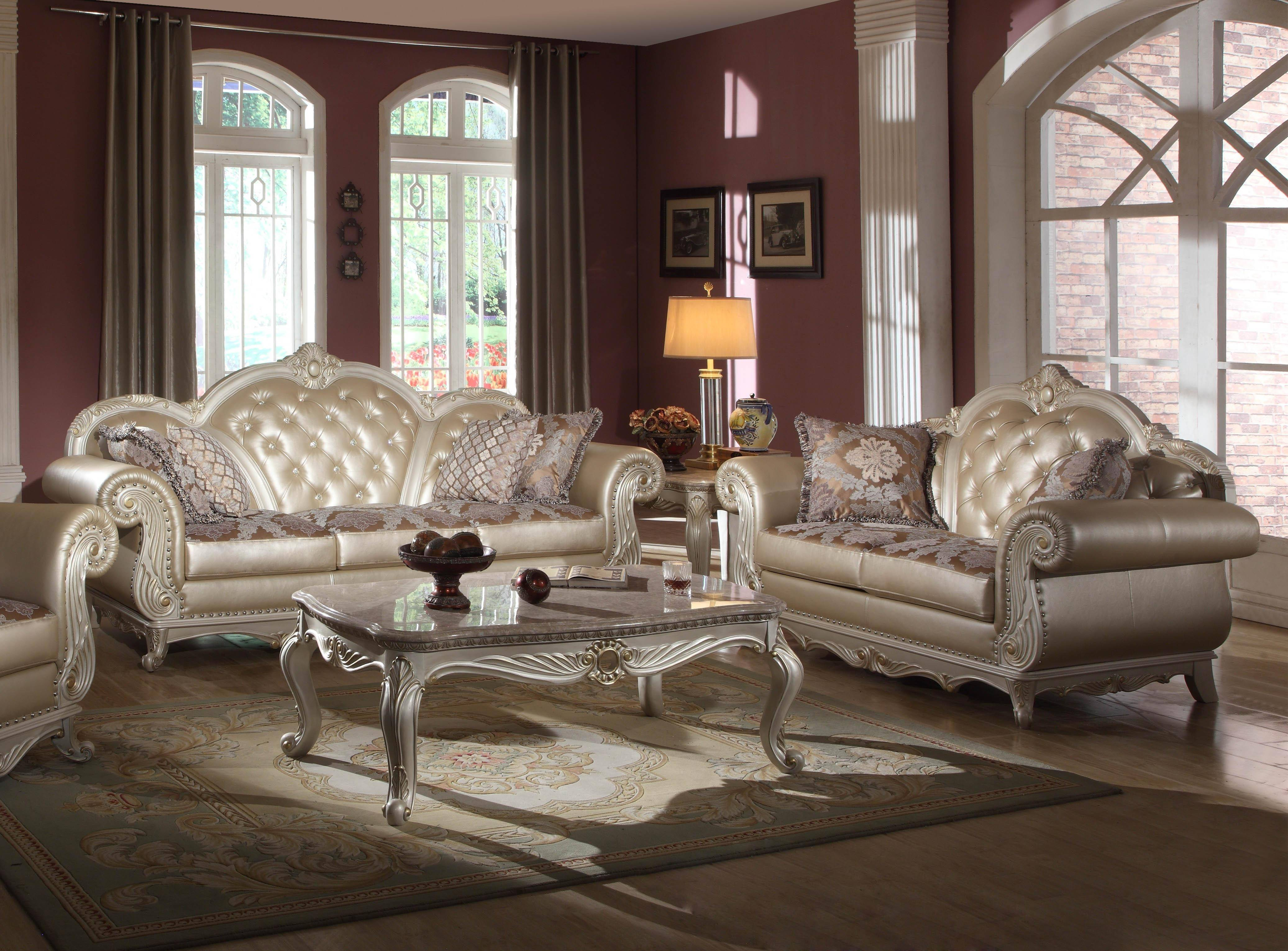 Meridian 652 Marquee Pearl White Living Room Sofa Set 2pcs