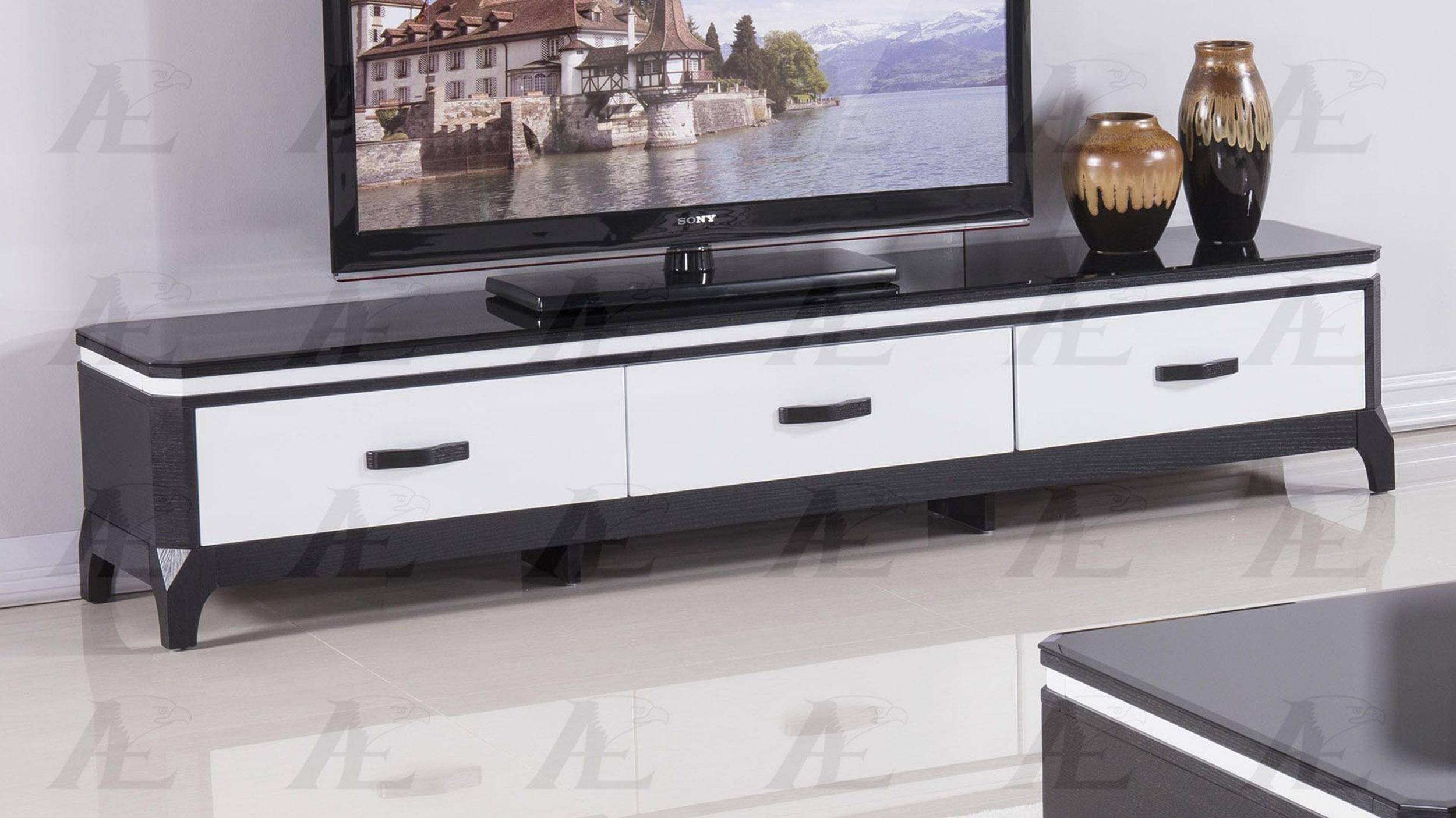 American Eagle Furniture Fc C592 Black And White Tempered Gl Top Tv Stand Reviews
