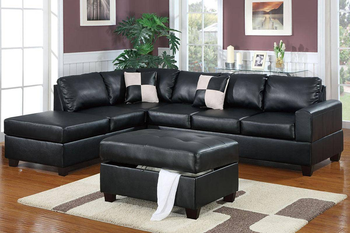 Sectional Sofa W Ottoman F7355 Black Bonded Leather