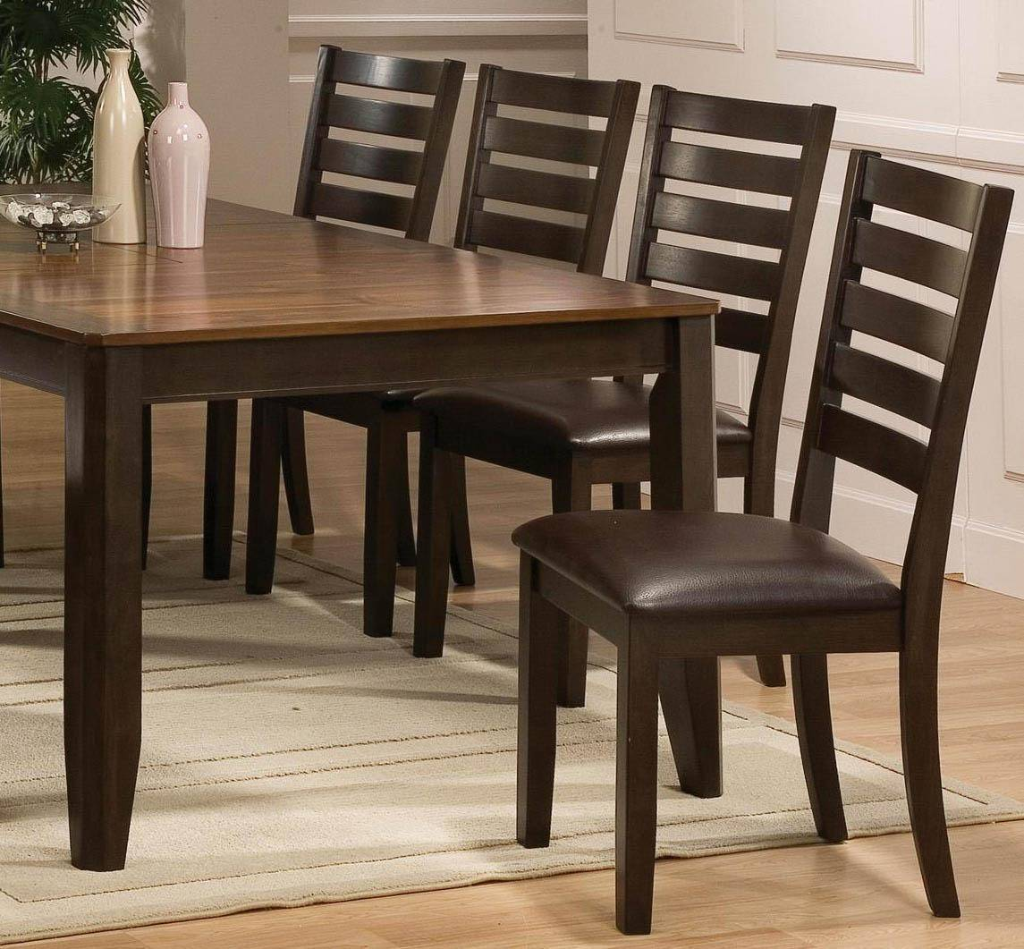 Crown Mark 2728 Elliot Contemporary Espresso Solid Wood Dining Room Set 6Pcs
