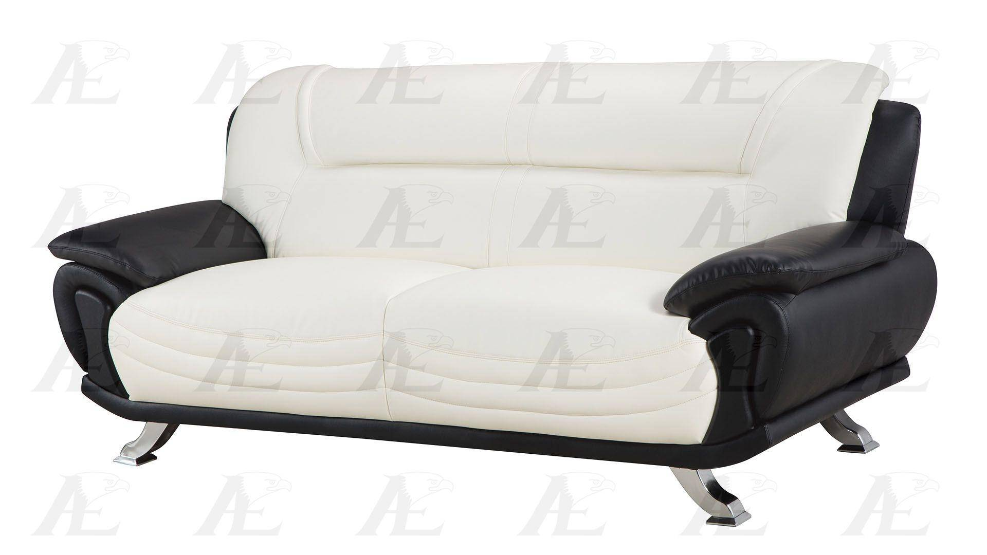 Ivory And Black Faux Leather Sofa American Eagle Ae388 Iv Bk