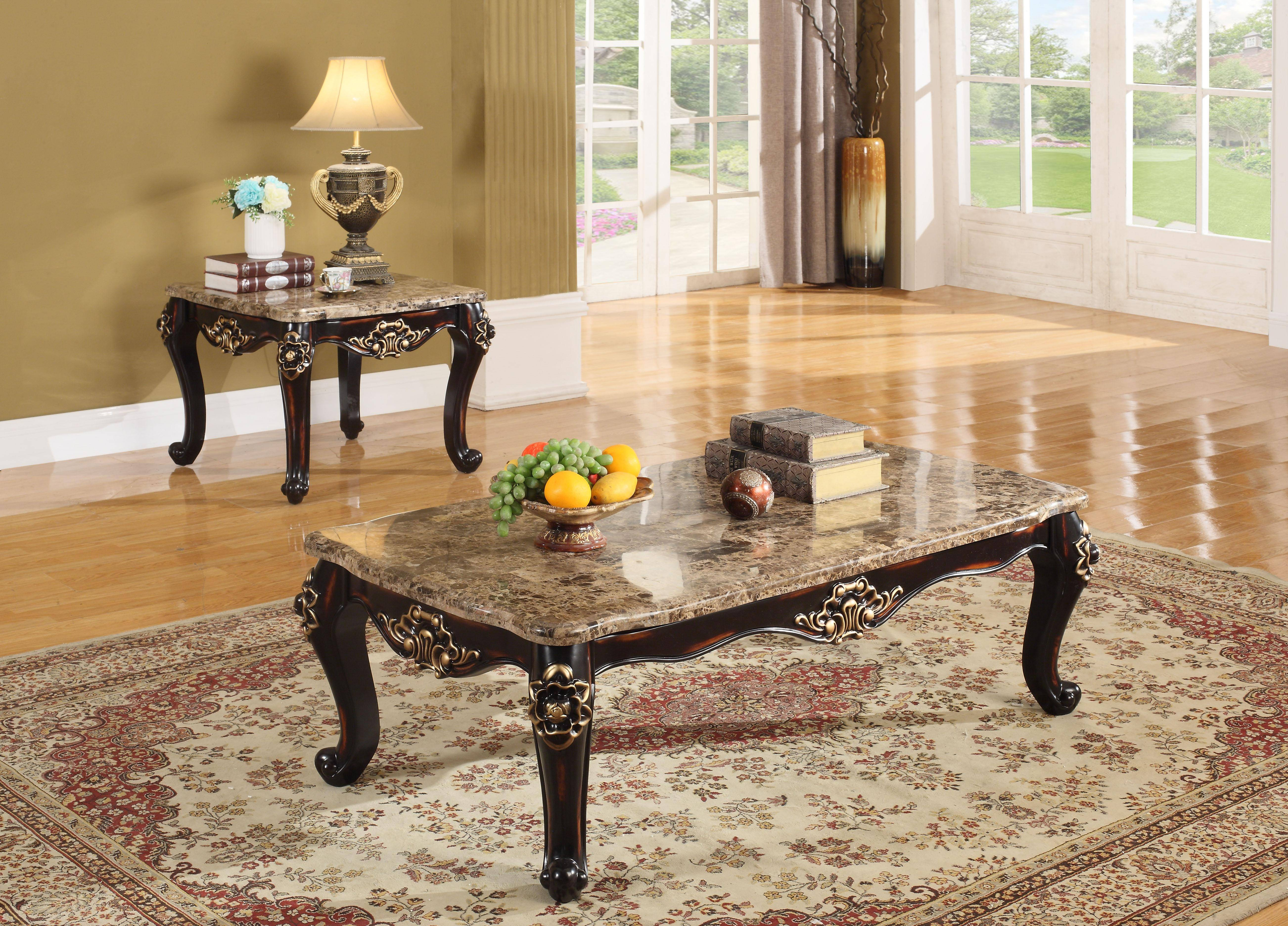 Meridian Furniture 275 Barcelona Genuine Marble Top Coffee End Tables Set 2pc Traditional Reviews