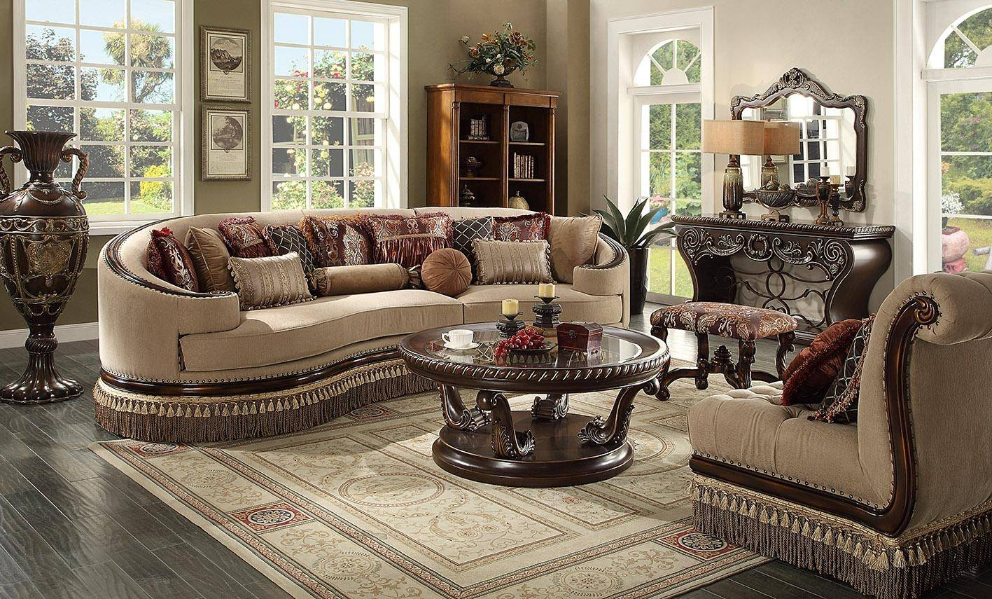 Homey Design Hd 1629 Victorian Upholstery Cappuccino Sectional