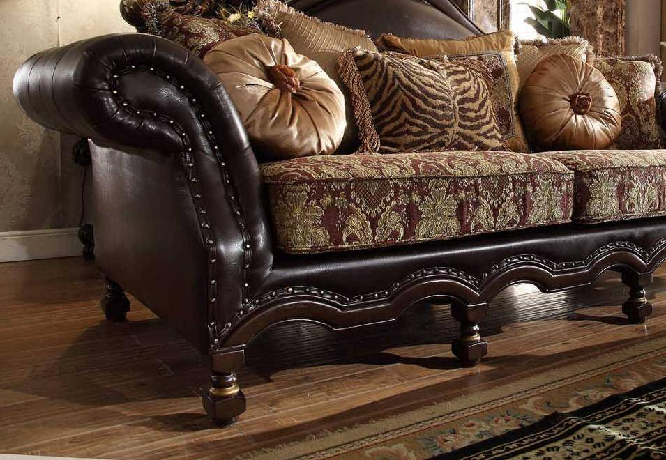 Homey Design HD-3280 Dark Chocolate Gold Fabric Faux Leather ...