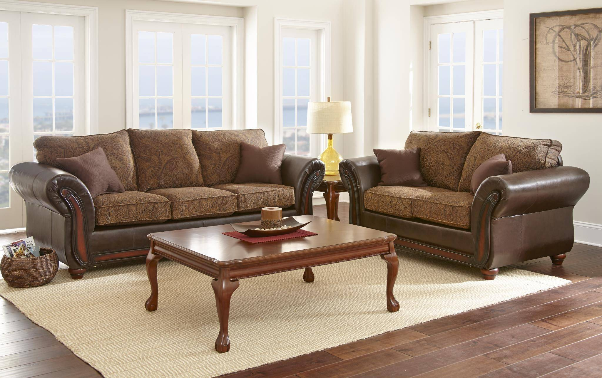 Myco Furniture Brigam Classic Dark Brown Leather Fabric Living Room Sofa Ka110 S
